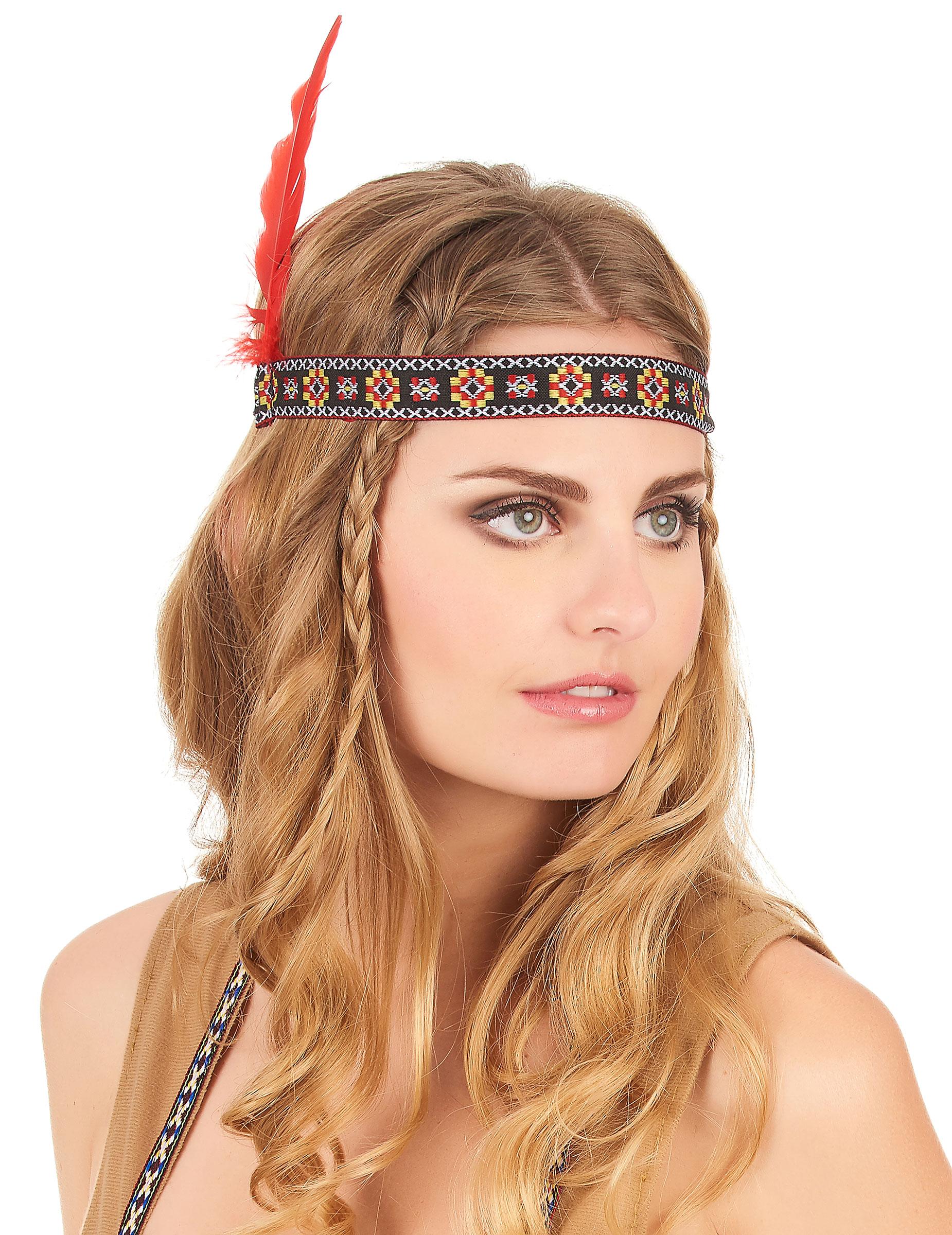 Indianer Kopfschmuck Wildwest Stirnband Bunt Rot Gunstige