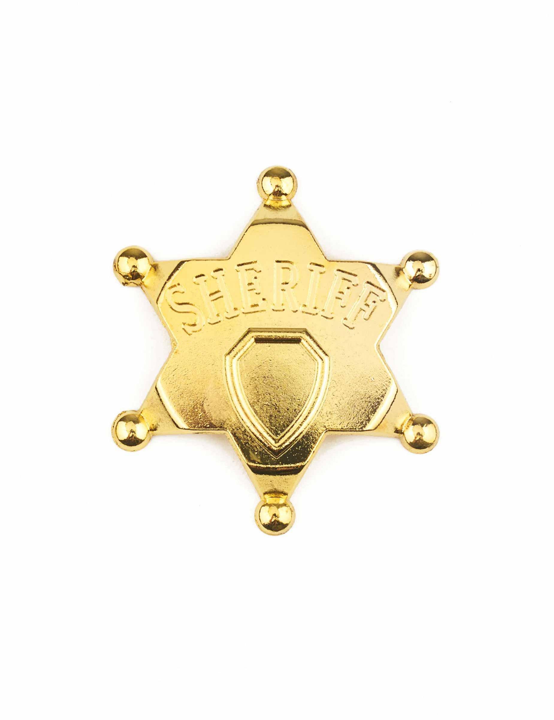 Sheriff Stern Marke Gold NEU Zubehör Accessoire Karneval Fasching