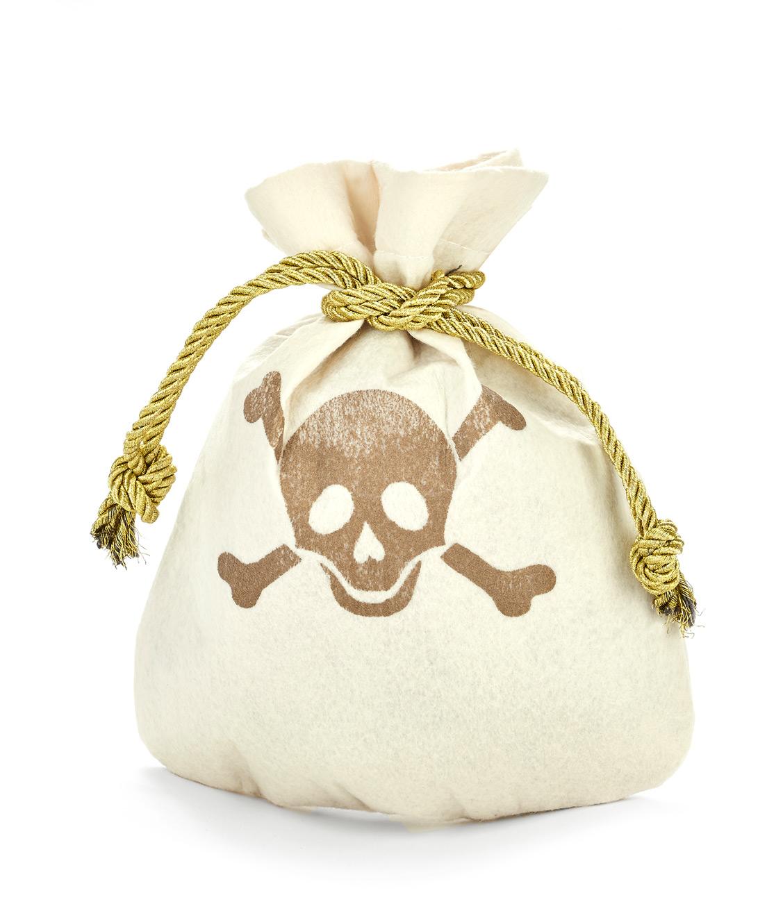 piraten beutel mit totensch del motiv piraten accessoire cremefarben gold 23x19cm g nstige. Black Bedroom Furniture Sets. Home Design Ideas
