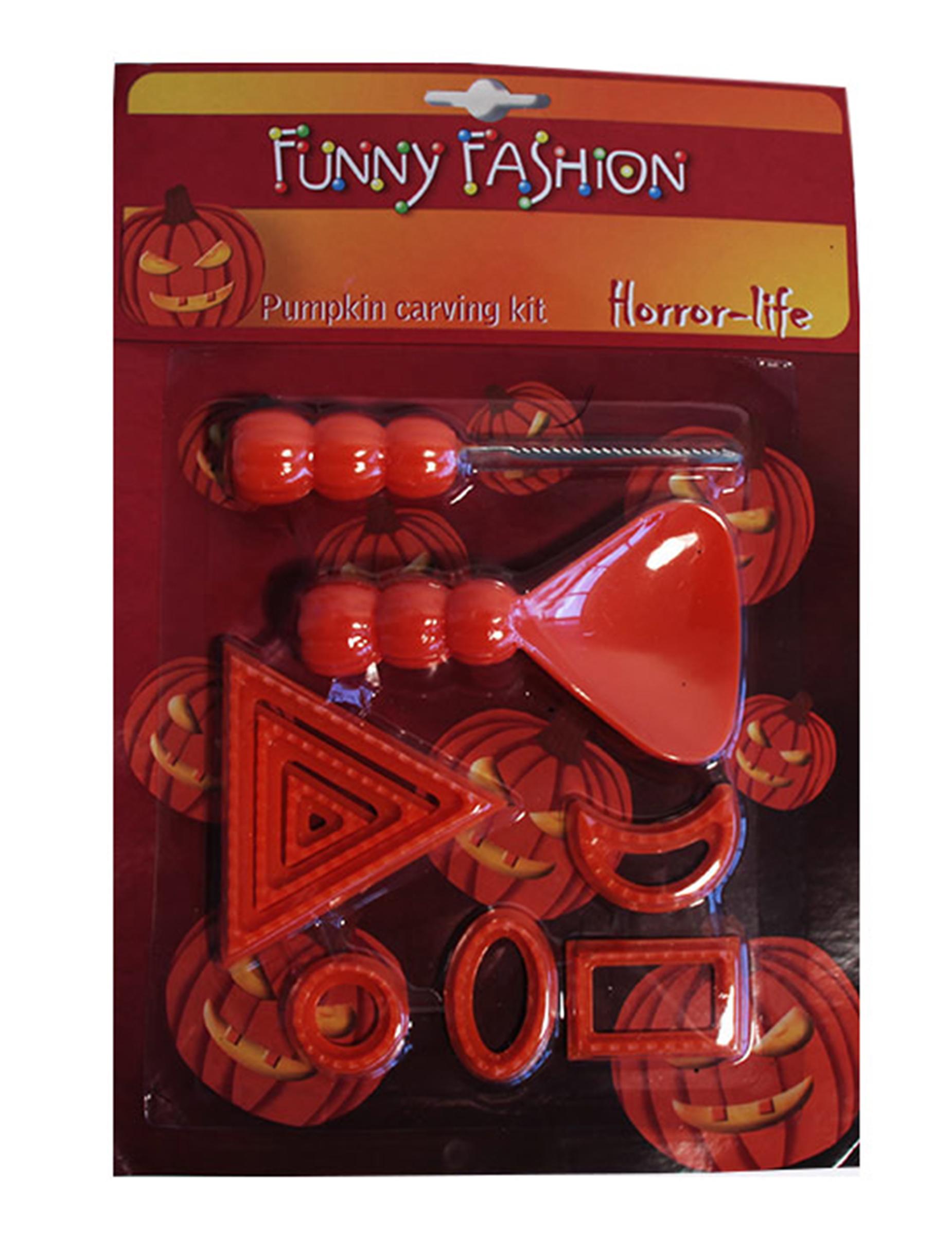 halloween k rbis schnitz set zum basteln 9 teilig rot g nstige faschings partydeko zubeh r. Black Bedroom Furniture Sets. Home Design Ideas