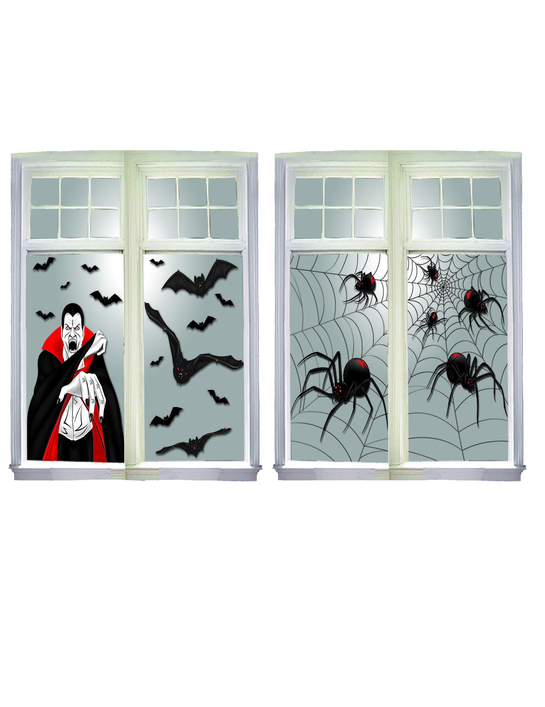 unheimliche halloween fenster dekoration 2 teilig 76 x 120. Black Bedroom Furniture Sets. Home Design Ideas