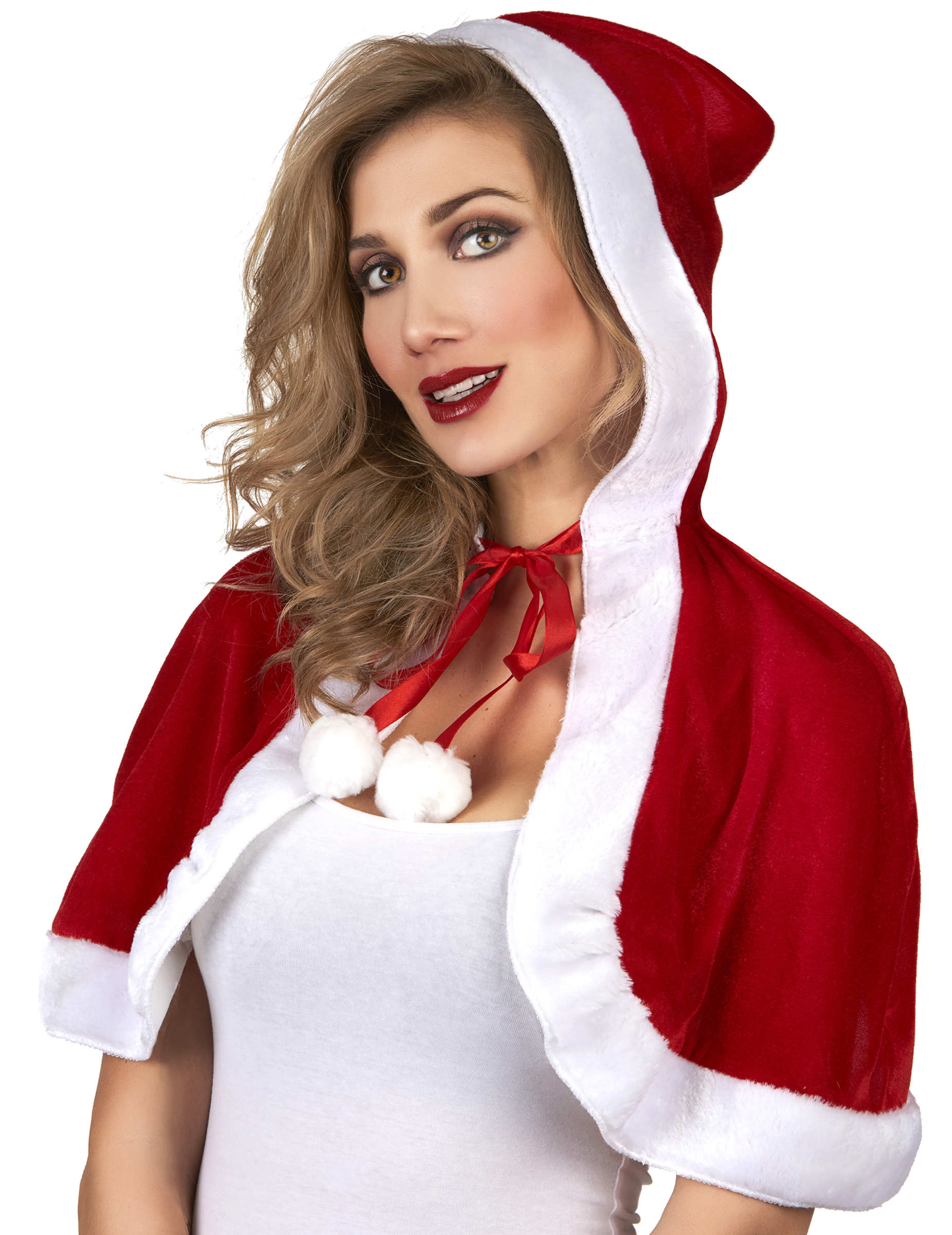 Susser Weihnachtsmann Damen Umhang Rot Weiss Gunstige Faschings
