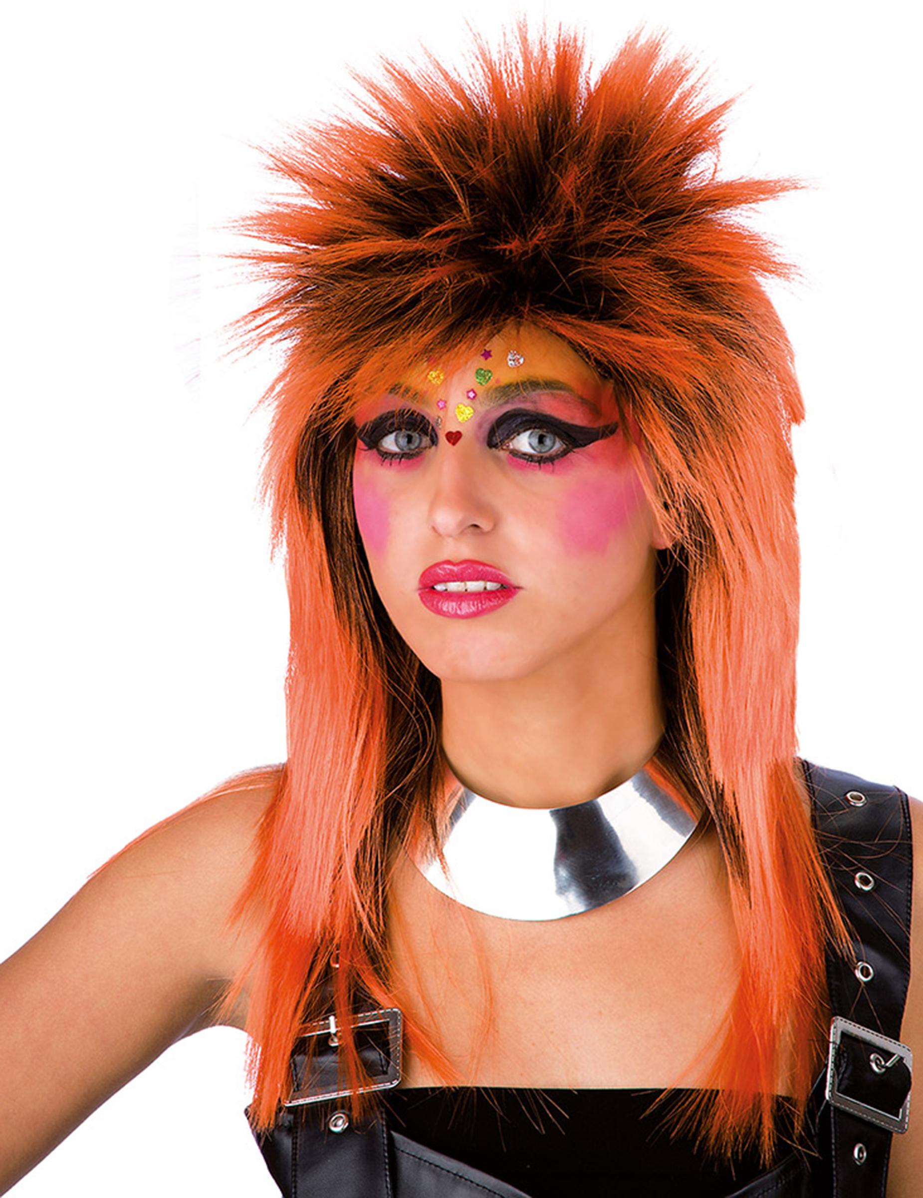 80er Punk Damenperucke Accessoire Orange Gunstige Faschings