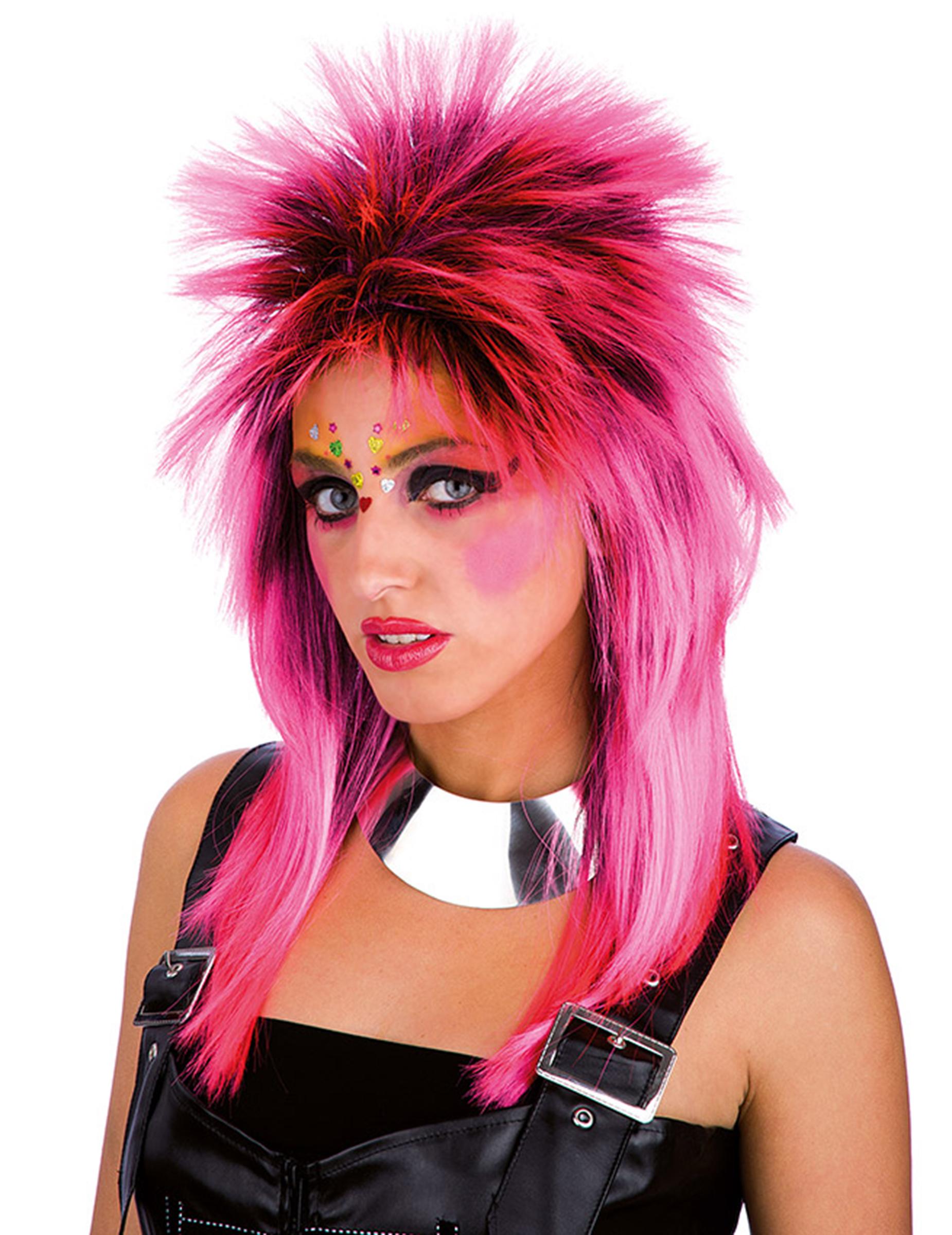 Wilde Punk Perucke Fur Damen Kostum Accessoire Rosa Gunstige