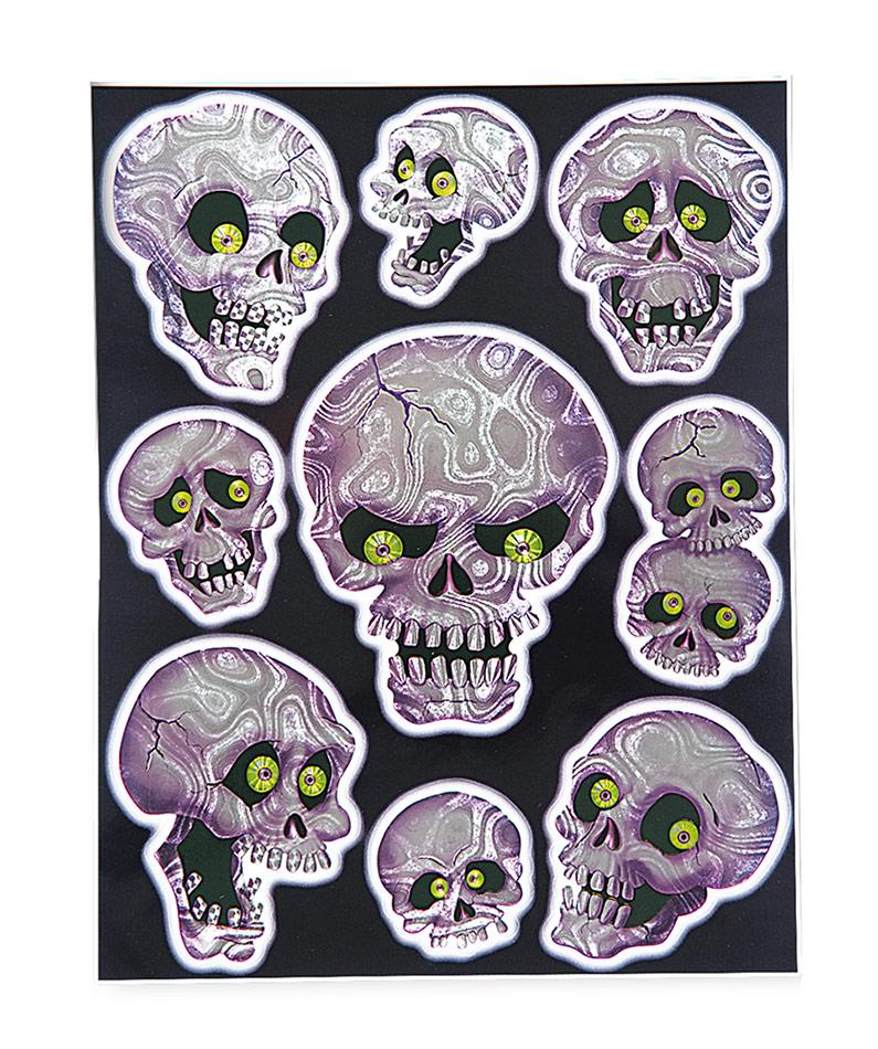 Totenschädel Hologramm-Sticker Halloween-Deko-Set 9-teilig ...