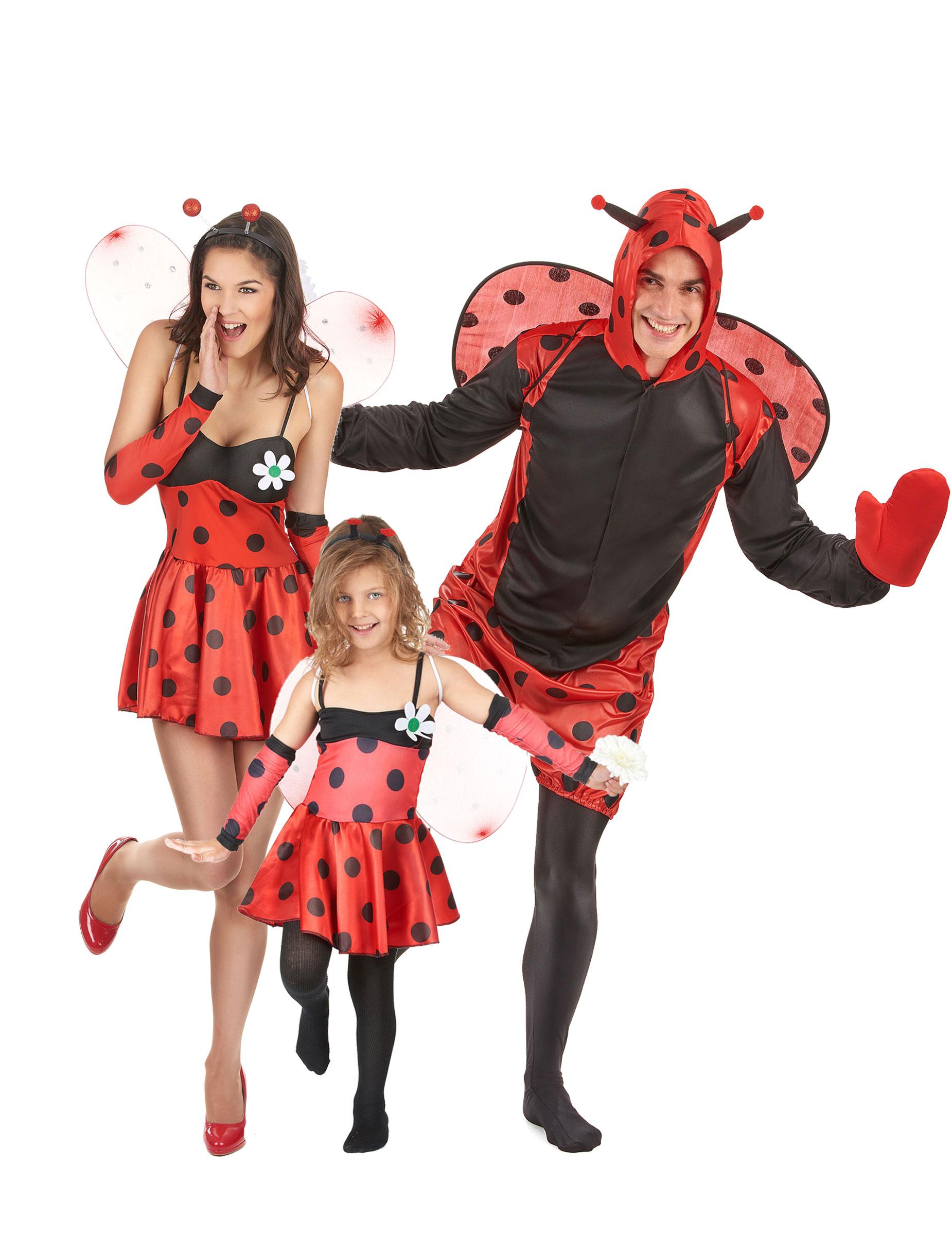 Putziges Marienkafer Familien Kostum Set Rot Schwarz