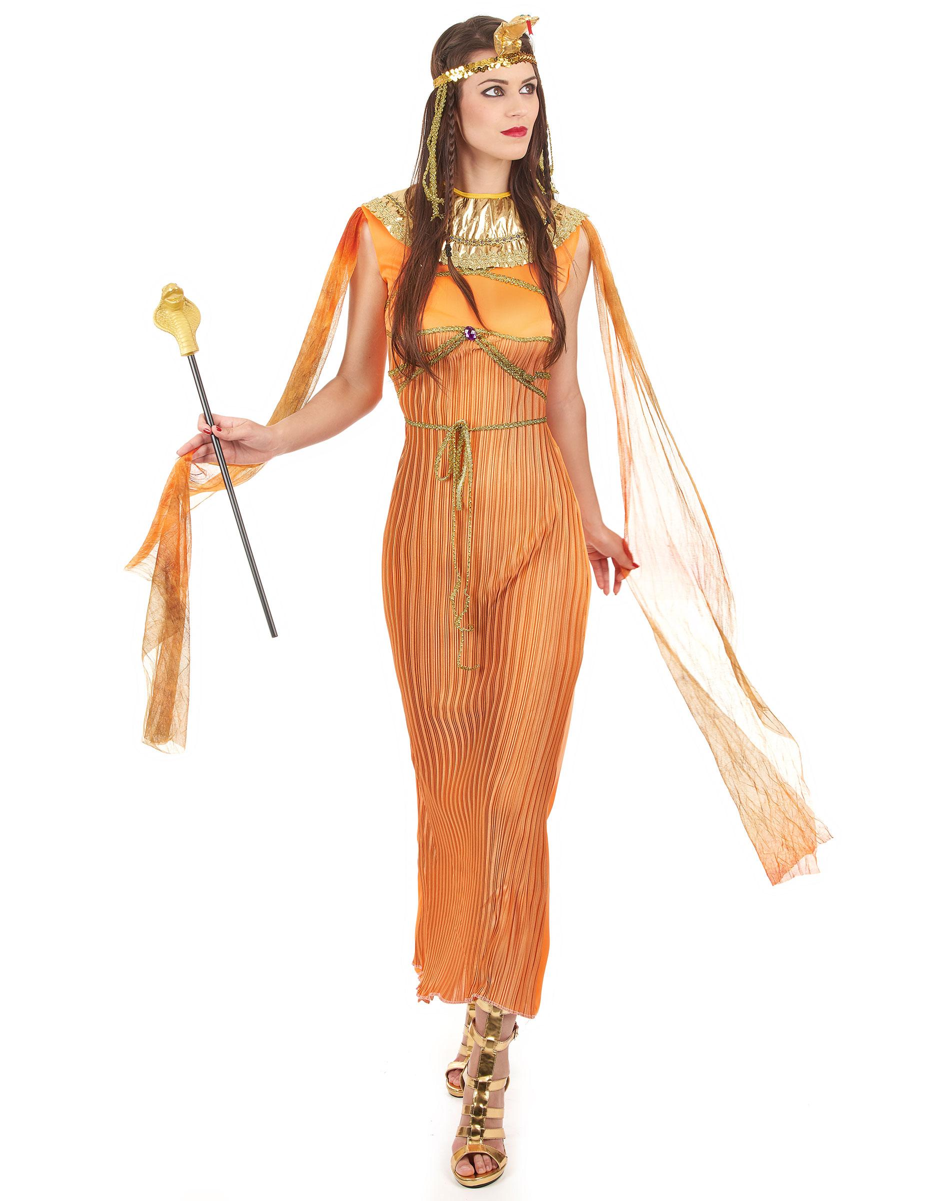 Agyptische Konigin Damen Kostum Orange Gold Gunstige Faschings