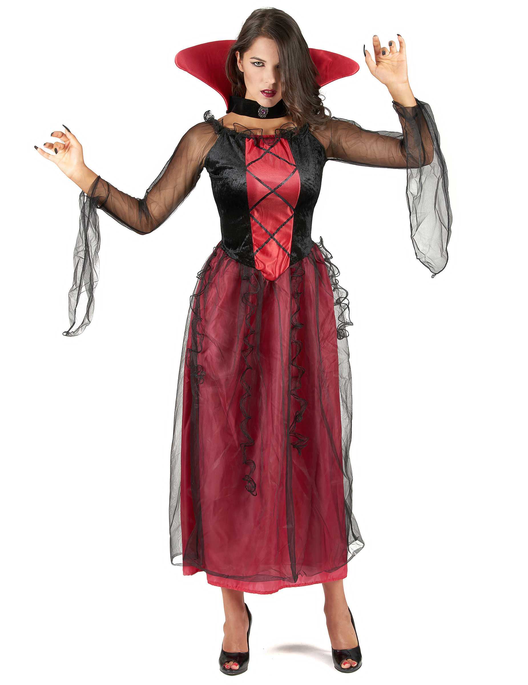 elegante halloween vampirin damenkost m schwarz rot g nstige faschings kost me bei karneval. Black Bedroom Furniture Sets. Home Design Ideas