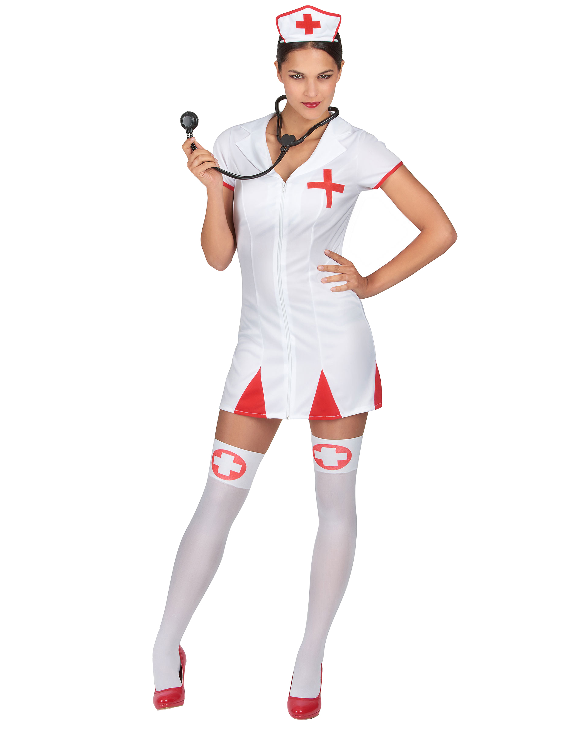 sexy krankenschwester damen kost m rot weiss g nstige. Black Bedroom Furniture Sets. Home Design Ideas