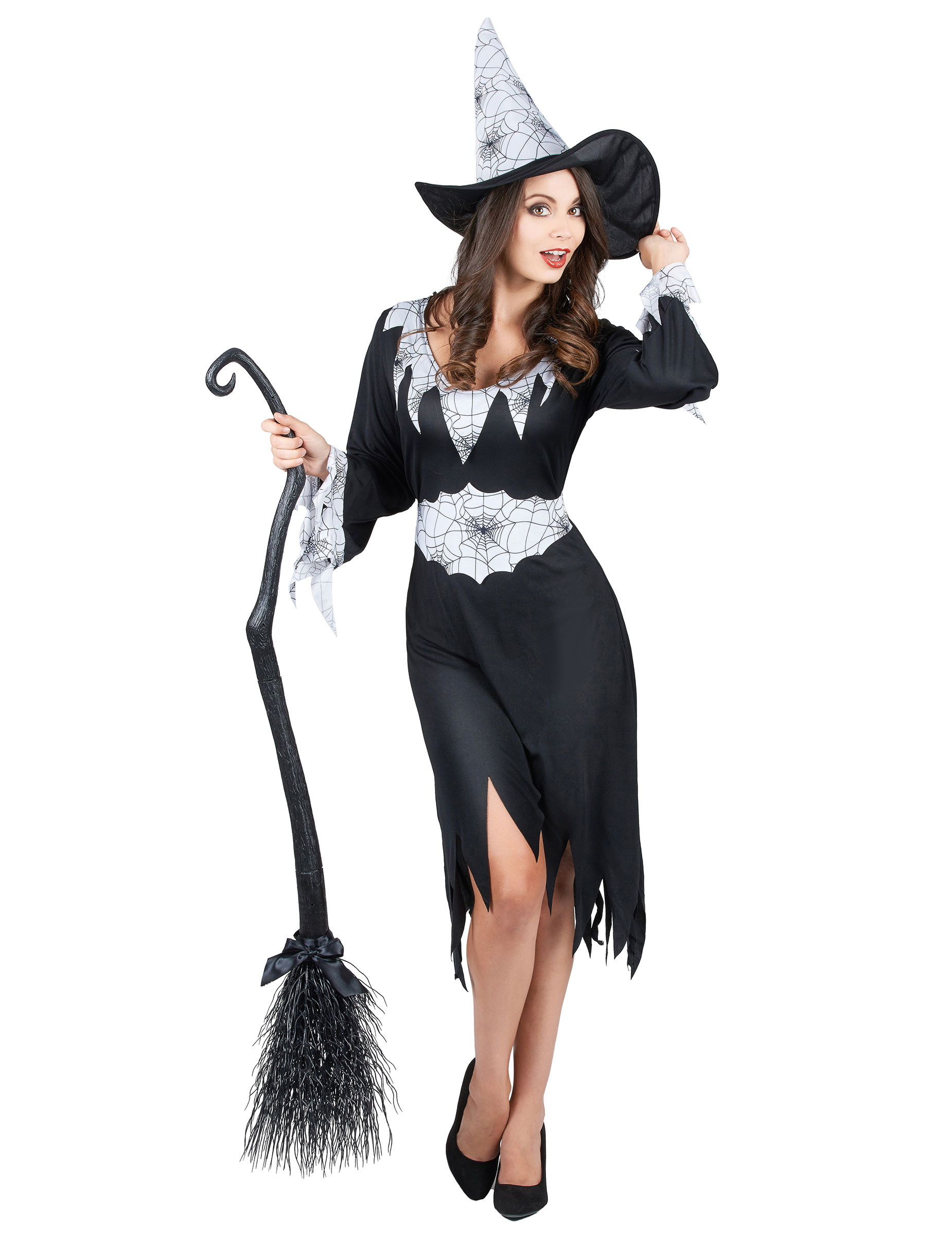 elegante spinnen hexe damenkost m schwarz weiss g nstige faschings kost me bei karneval megastore. Black Bedroom Furniture Sets. Home Design Ideas
