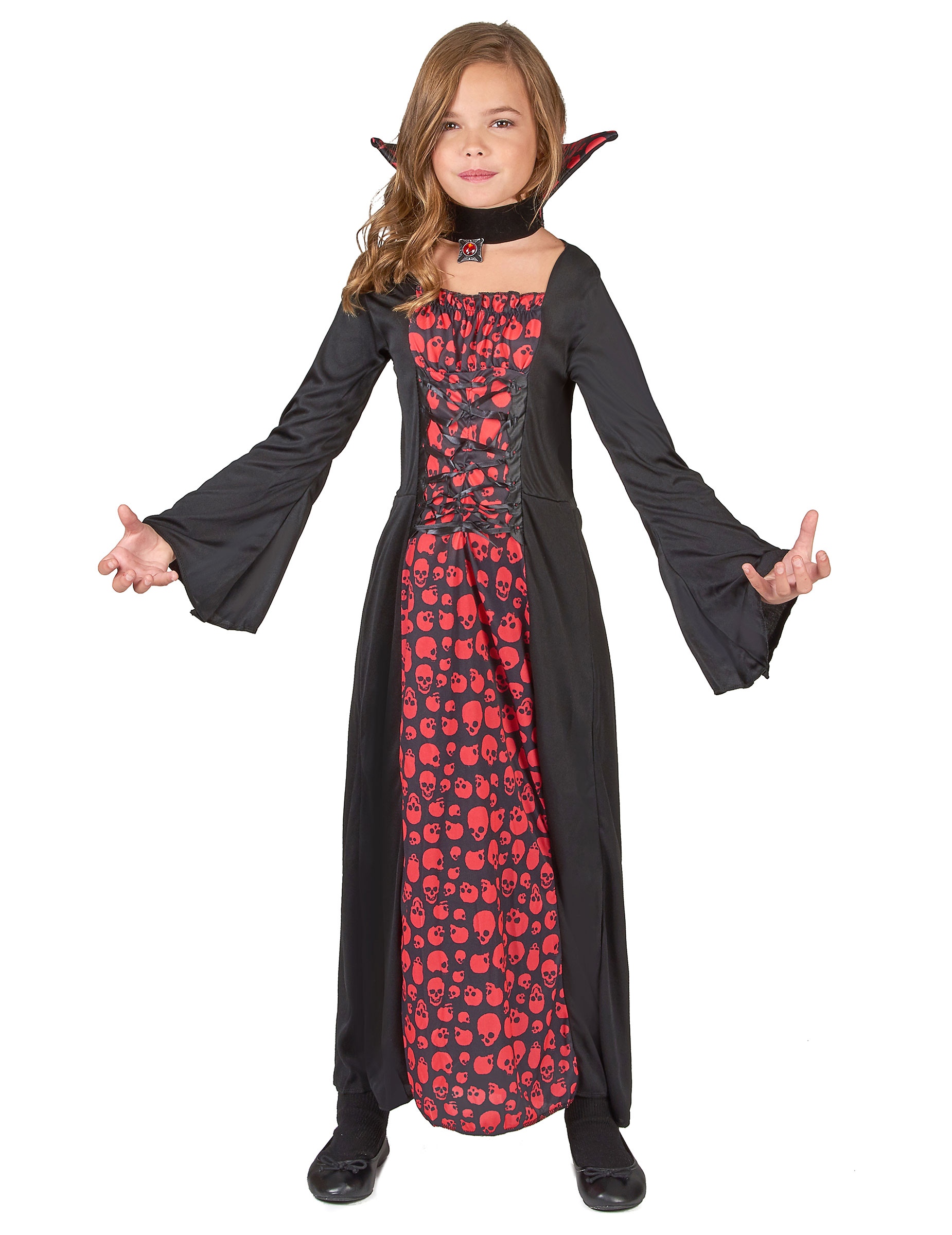 elegante vampirin kinderkost m rot schwarz g nstige faschings kost me bei karneval megastore. Black Bedroom Furniture Sets. Home Design Ideas
