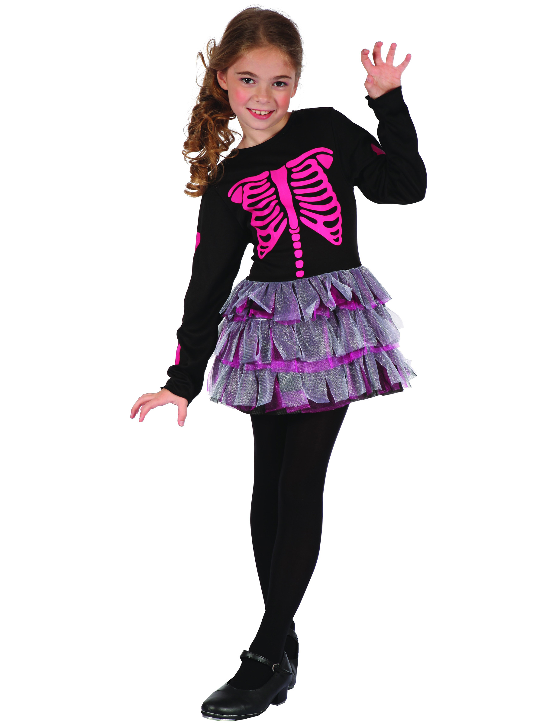 niedliches skelett m dchen halloween kinderkost m schwarz pink g nstige faschings kost me bei. Black Bedroom Furniture Sets. Home Design Ideas
