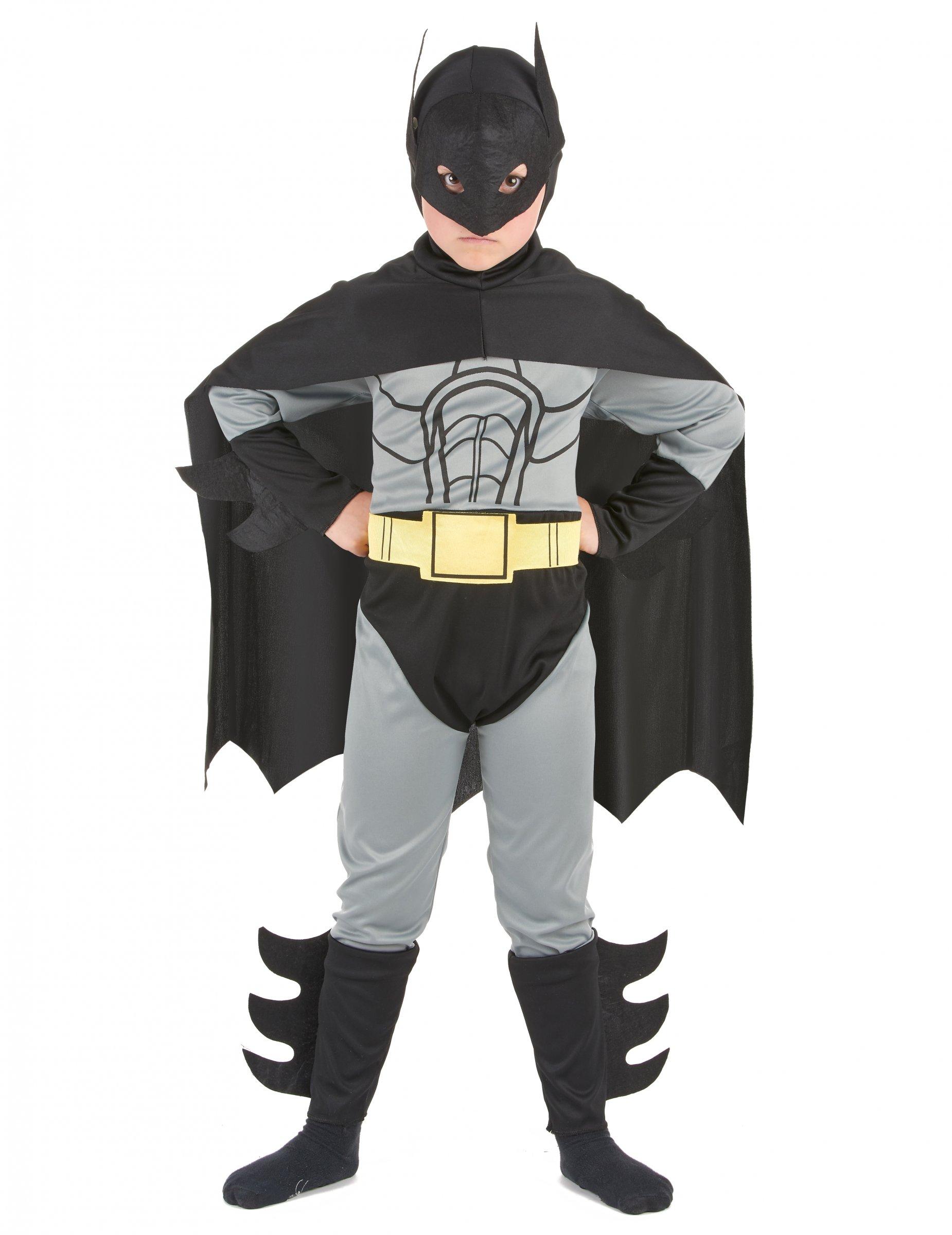 Fledermaus Held Kinderkostum Superhelden Anzug Grau Schwarz Gelb