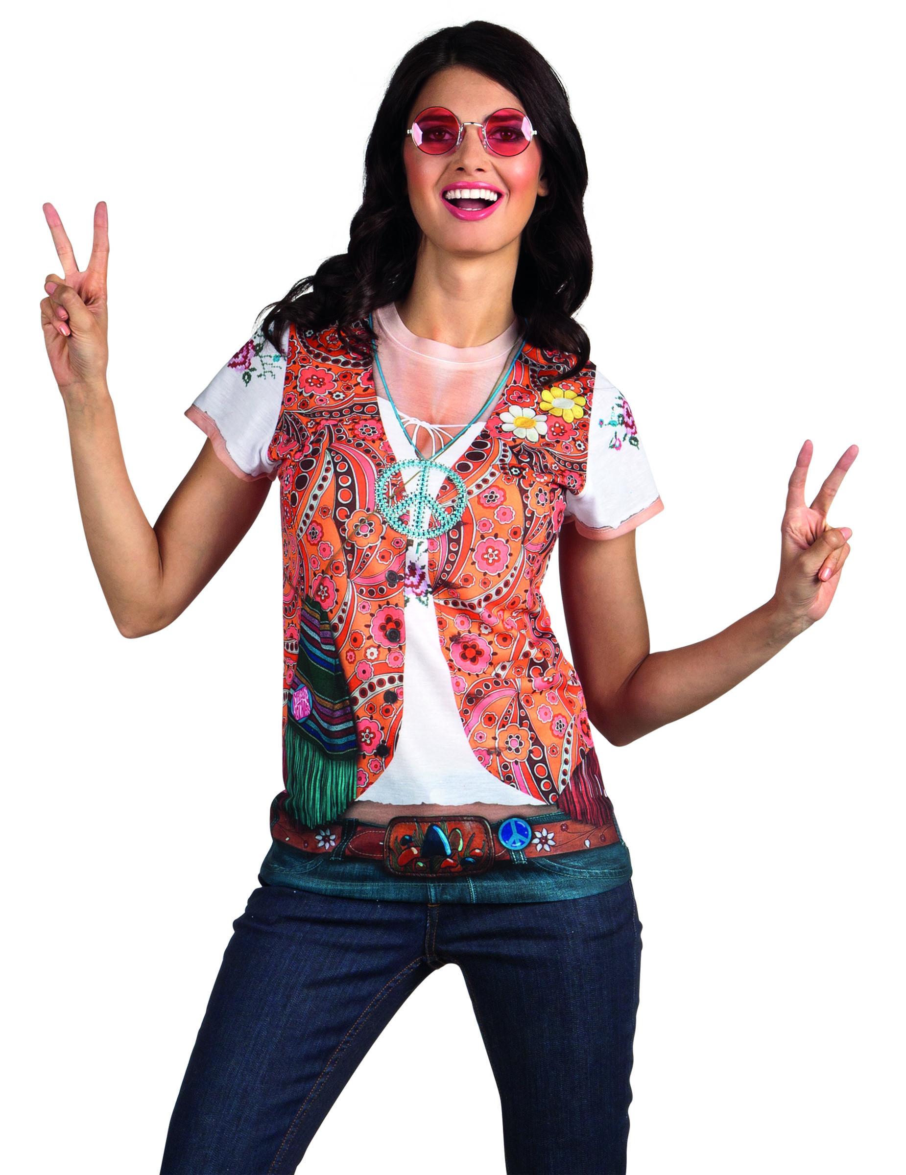60er jahre hippie damen t shirt bunt g nstige faschings. Black Bedroom Furniture Sets. Home Design Ideas