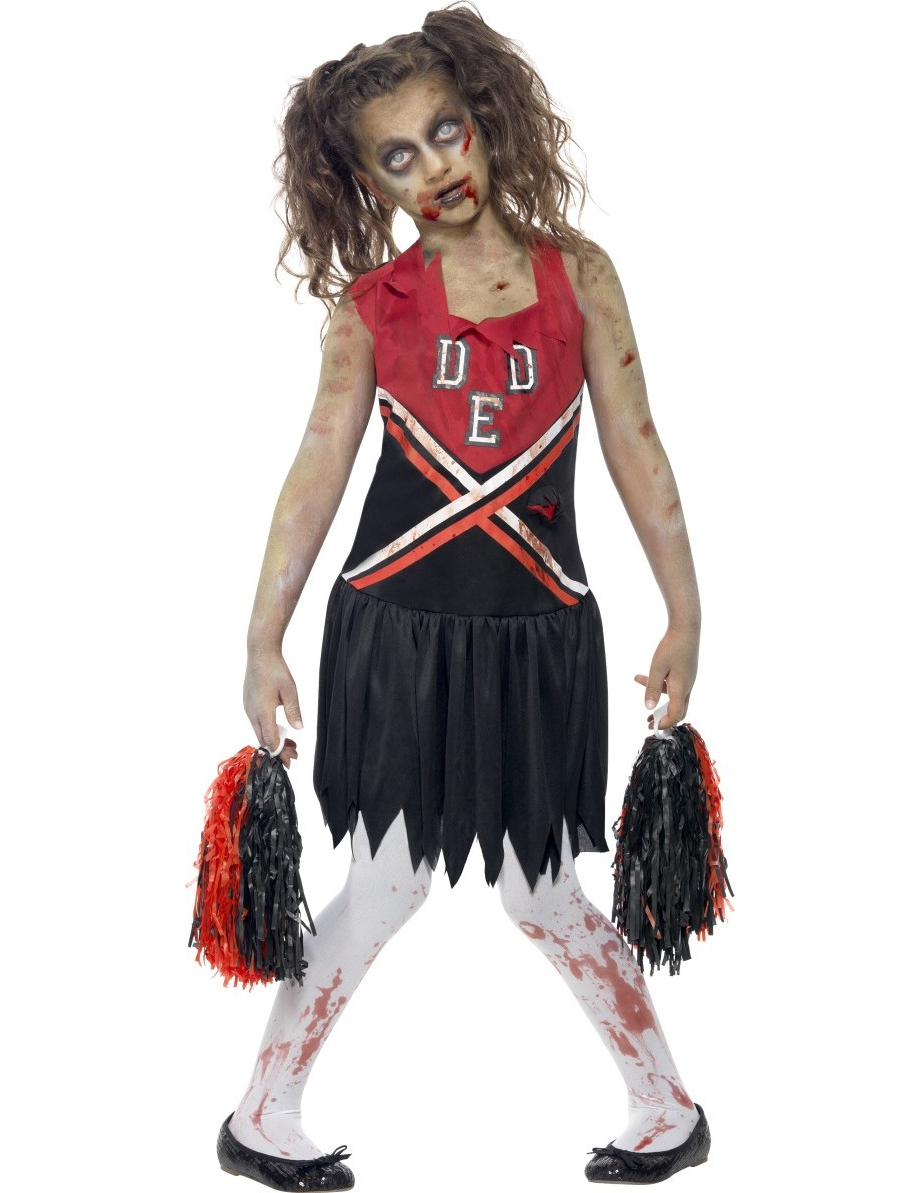 Zombie Cheerleader Halloween Kinderkostum Rot Schwarz Gunstige