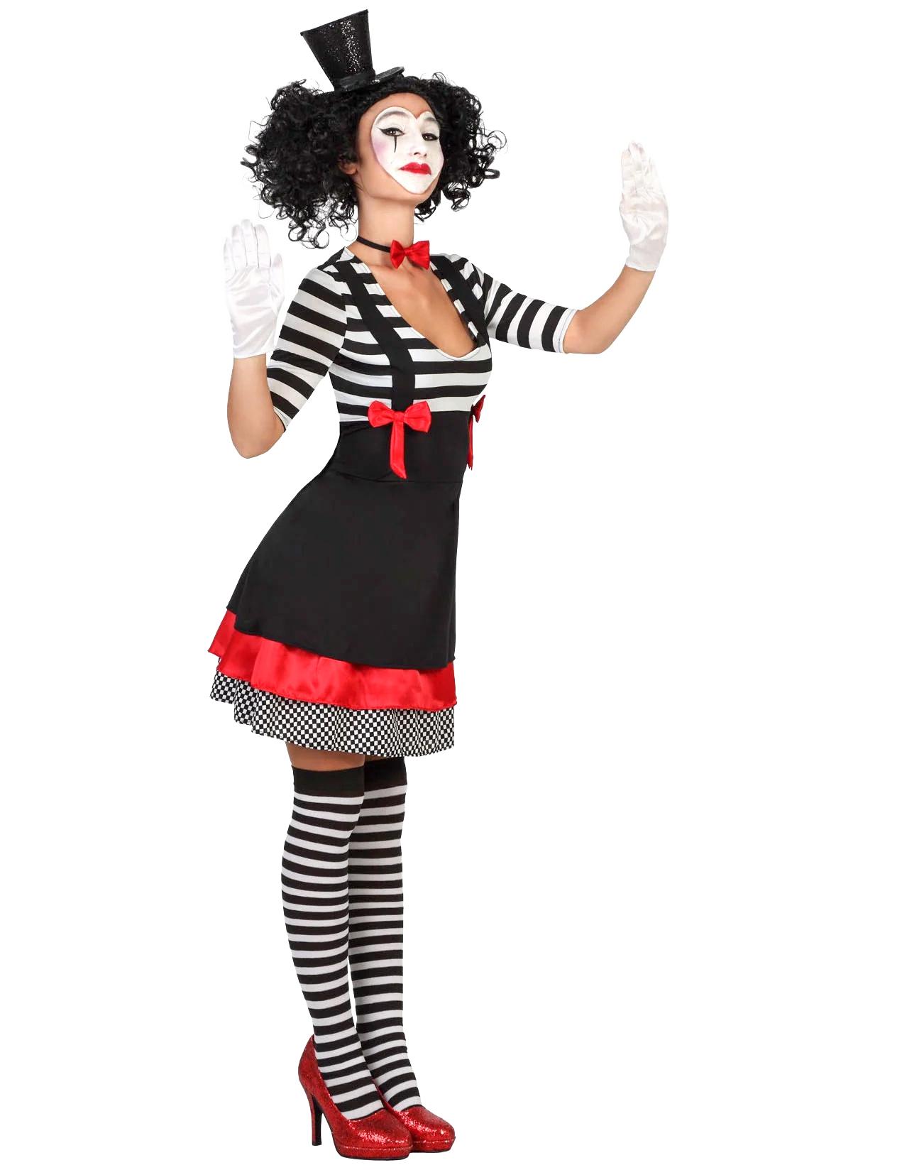 s sse pantomime damenkost m clownfrau schwarz weiss. Black Bedroom Furniture Sets. Home Design Ideas