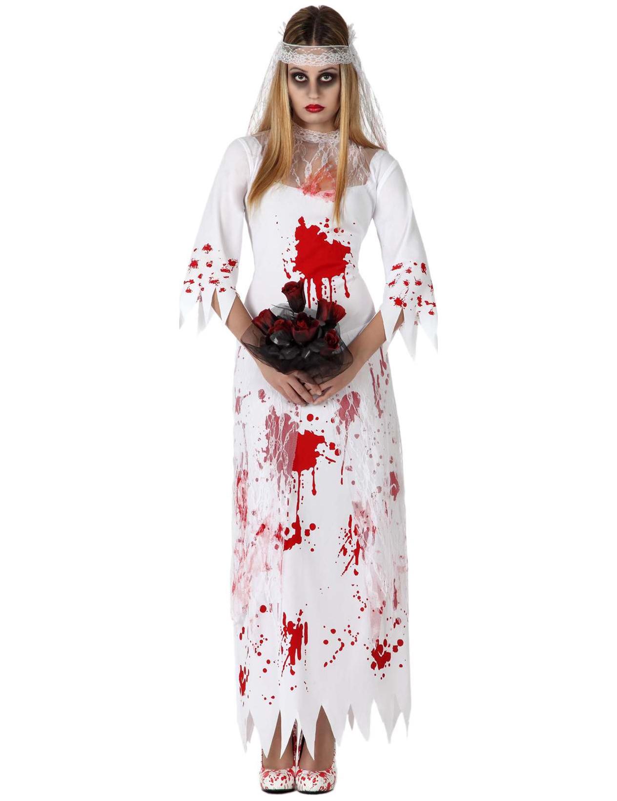 Geister-Braut Halloween-Damenkostüm Zombie weiss-rot
