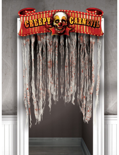 horror clown t rvorhang halloween party deko bunt 96x137cm. Black Bedroom Furniture Sets. Home Design Ideas