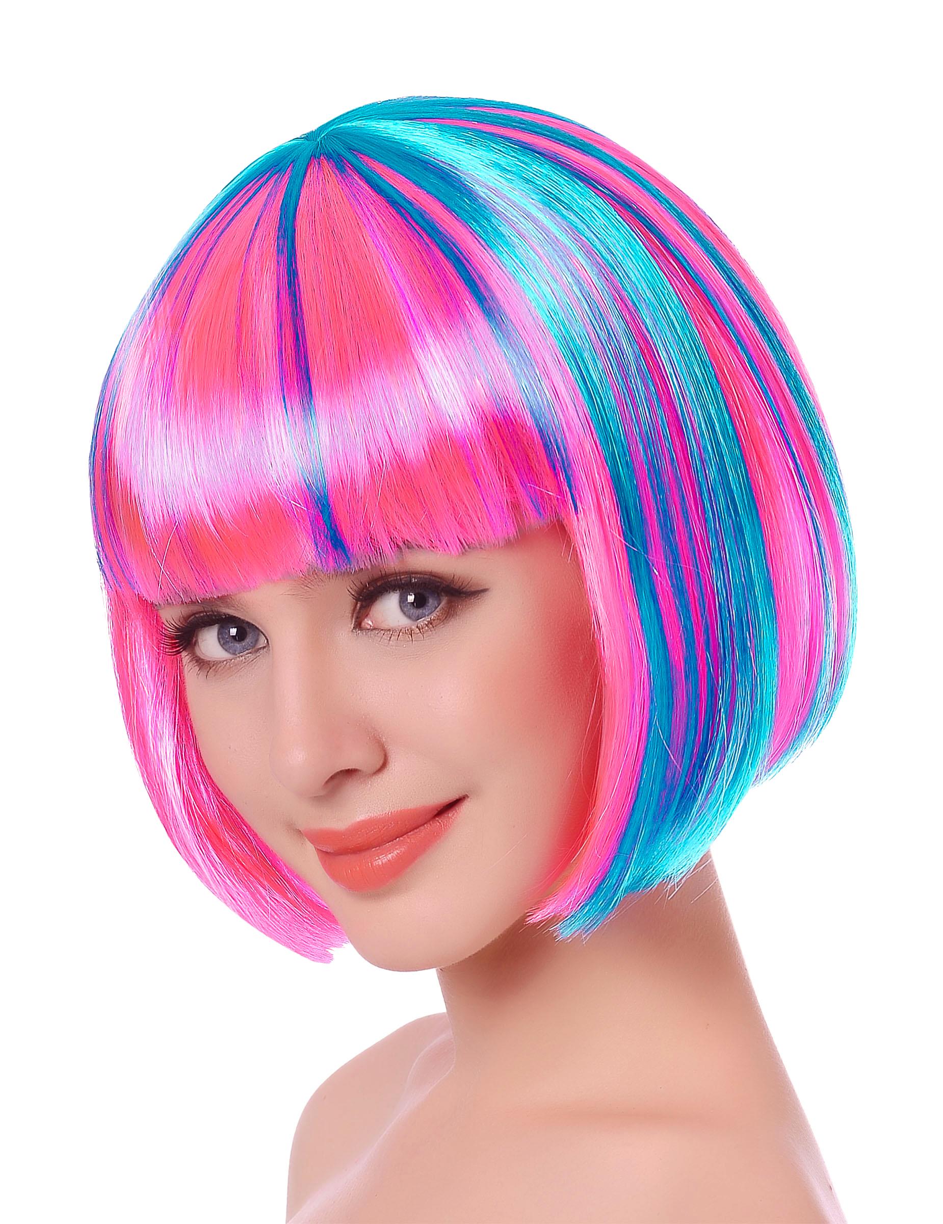 Neon Kurzhaar Perucke Fur Damen Rosa Blau Gunstige Faschings
