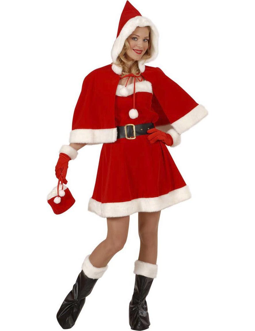 weihnachtsfrau deluxe kost m mit umhang rot weiss schwarz. Black Bedroom Furniture Sets. Home Design Ideas