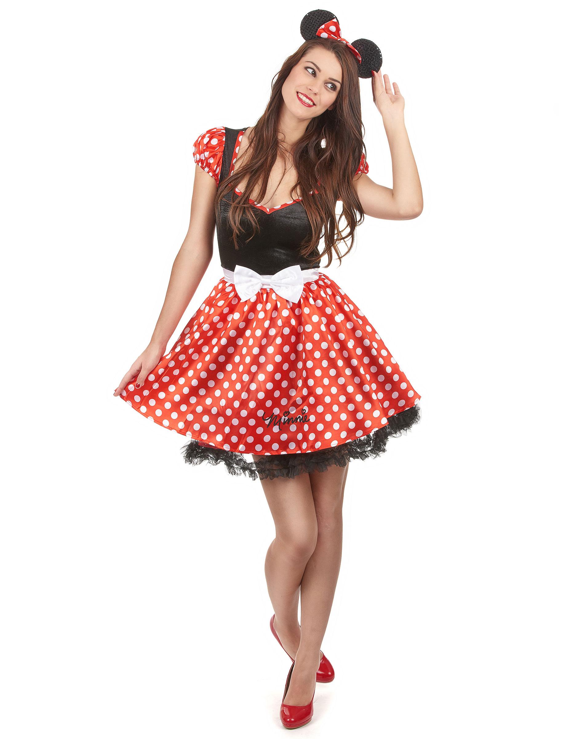 Minnie Mouse Disney Damenkostum Maus Lizenzkostum Schwarz Rot Weiss