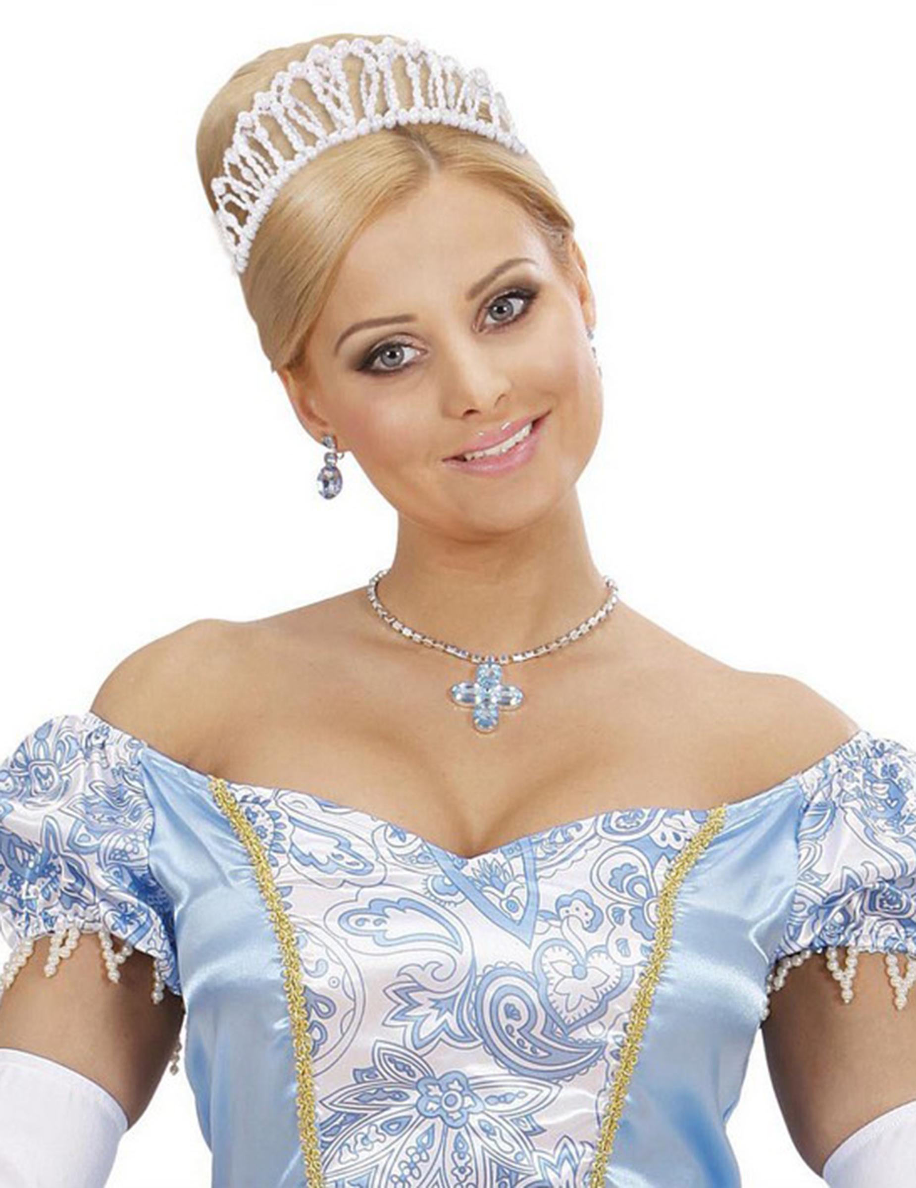 Perlen Diadem Prinzessinnen Krone Weiss Gunstige Faschings
