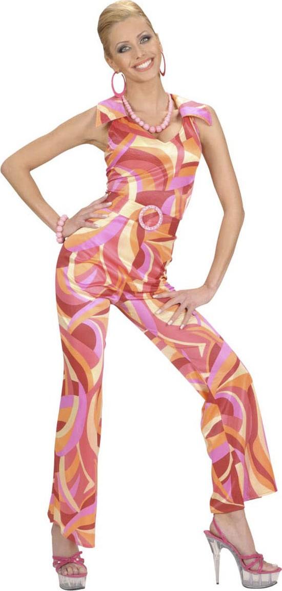 70er disco jumpsuit damenkost m hosenanzug orange. Black Bedroom Furniture Sets. Home Design Ideas