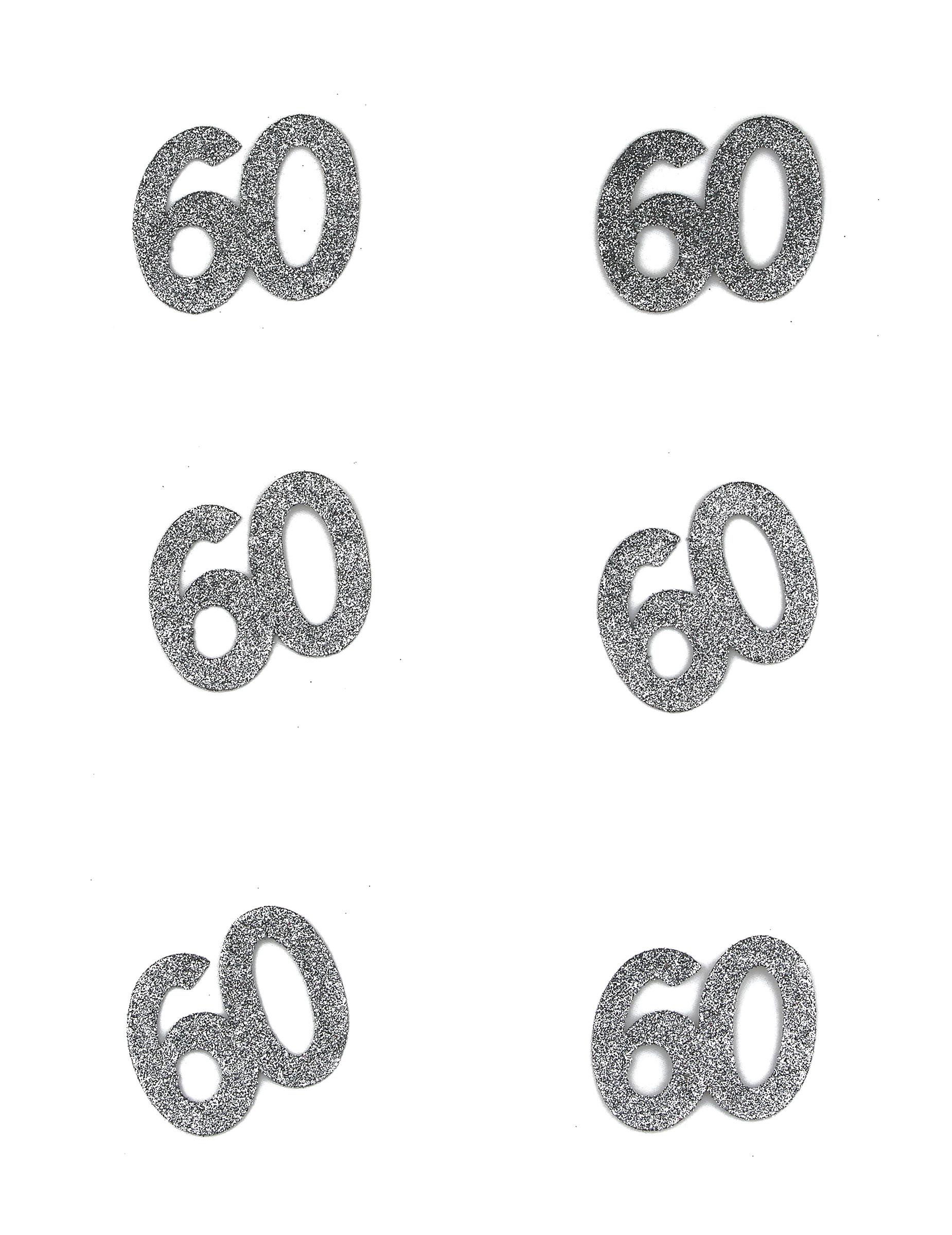 Tischdeko Geburtstag 60 Jahre Konfetti 6 Stuck Glitzer Silber 4
