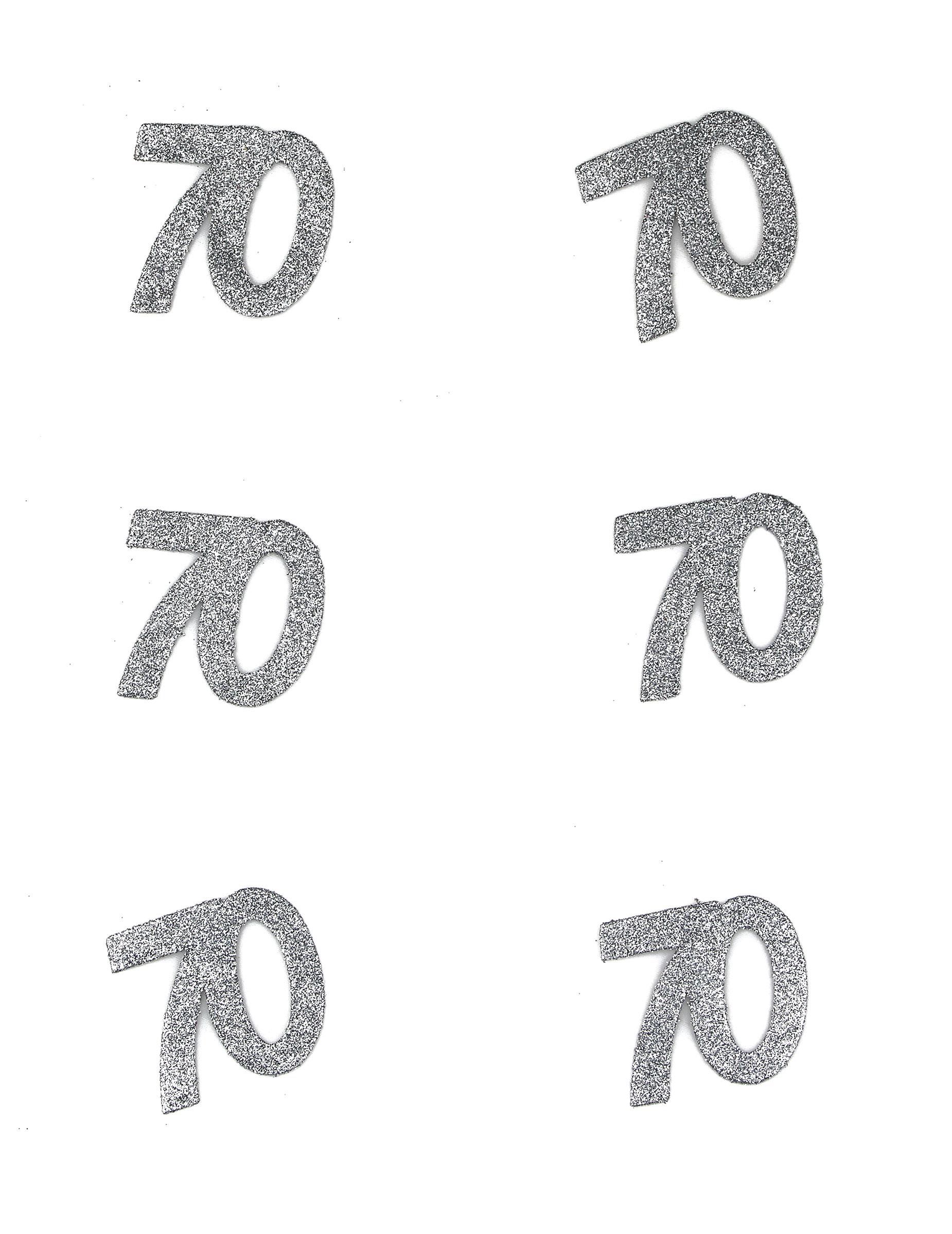 Tischdeko Geburtstag 70 Jahre Konfetti 6 Stuck Glitzer Silber 4