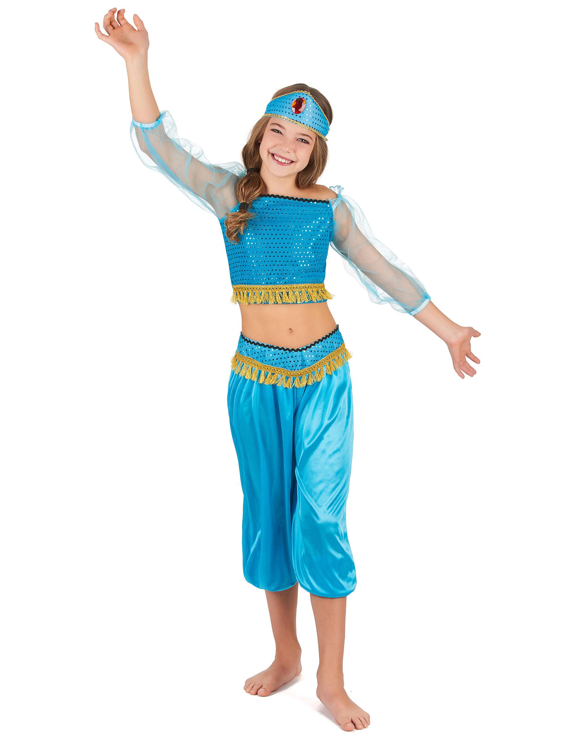Orientalische Bauchtanzerin Kinder Kostum Turkis Gold Gunstige