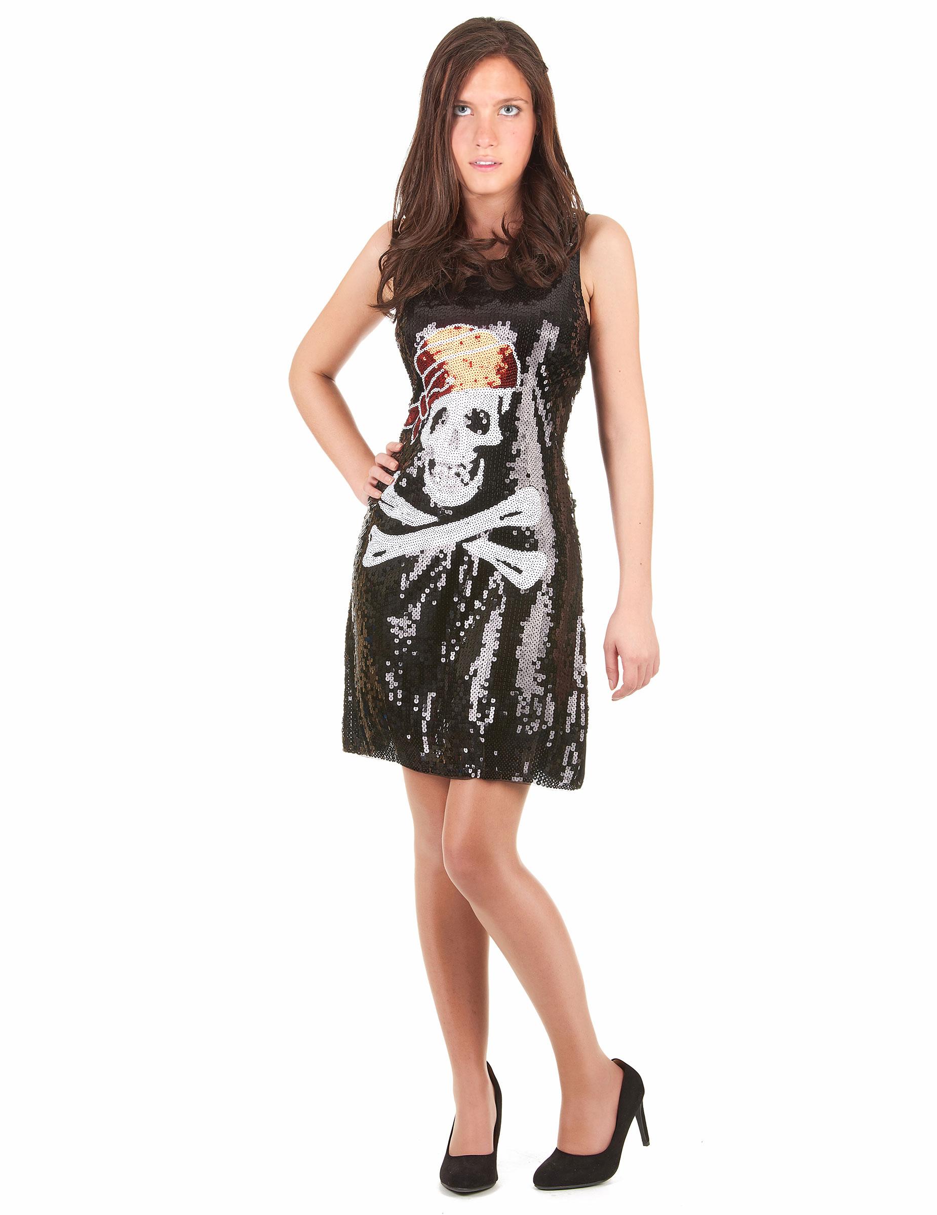 size 40 e92a4 836a5 Piratin Pailletten-Kleid Totenkopf schwarz-weiss-rot