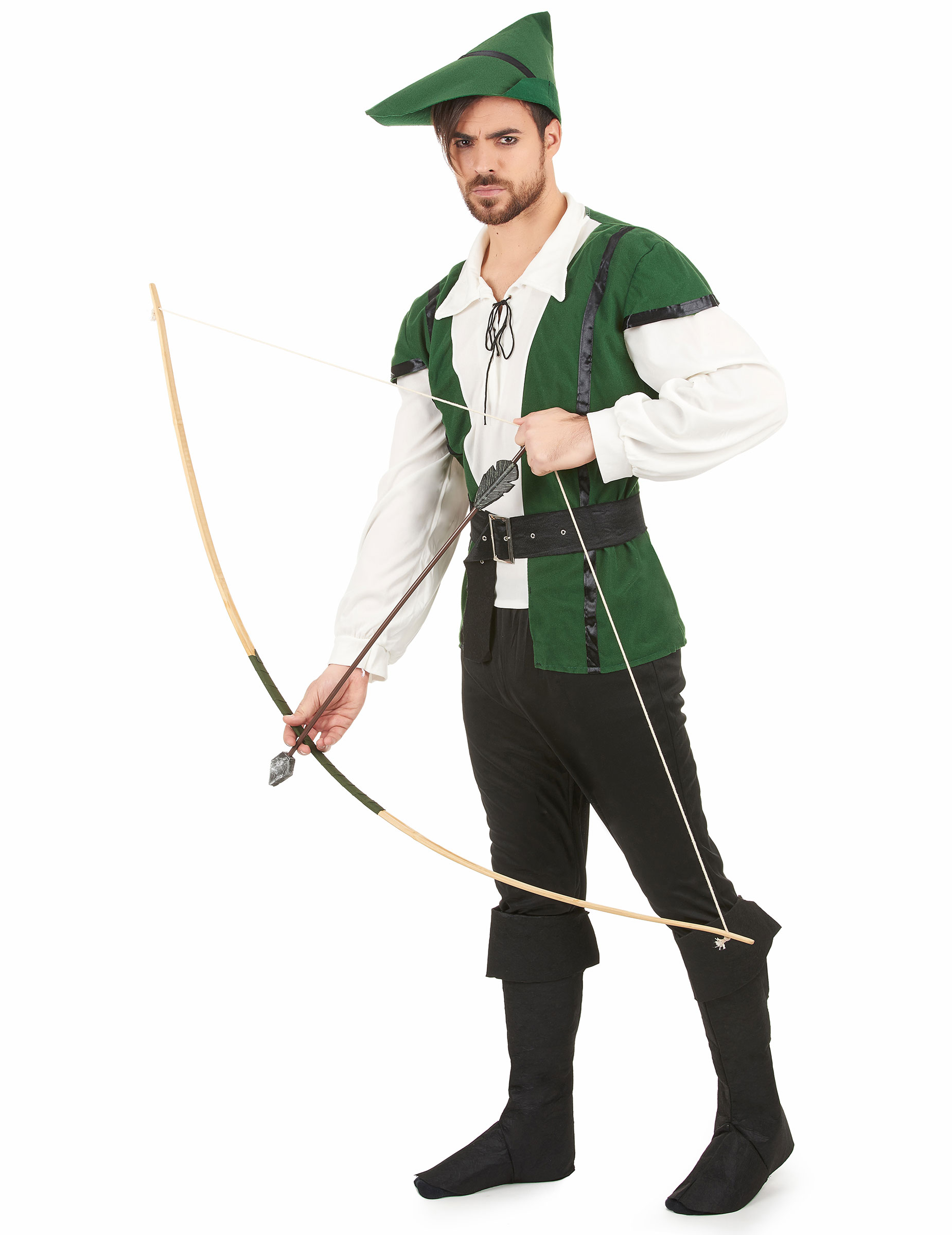 Mittelalterlicher Jager Kostum Bogenschutze Grun Schwarz Beige
