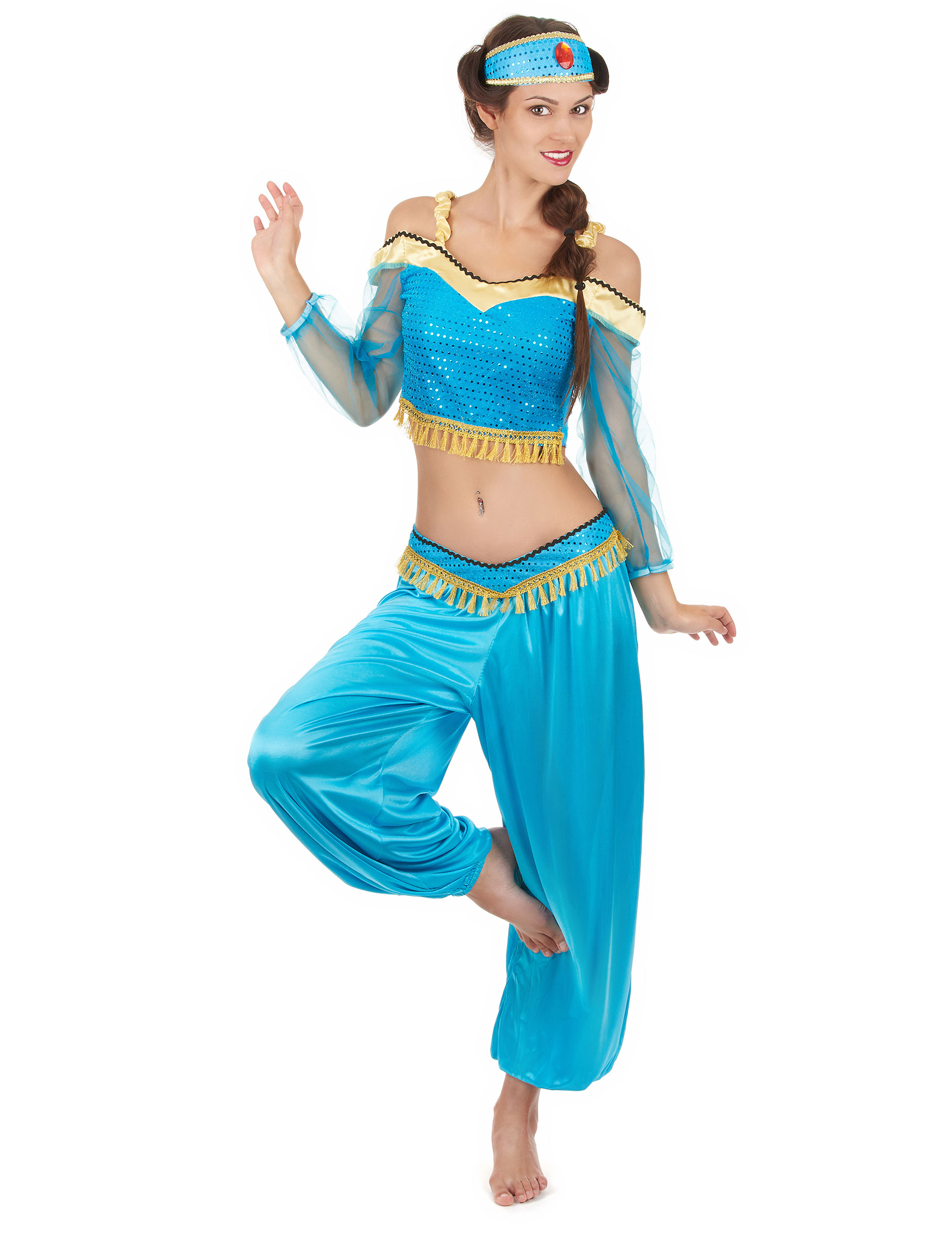 Bauchtanzerin Orientalisches Damenkostum Blau Gold Gunstige