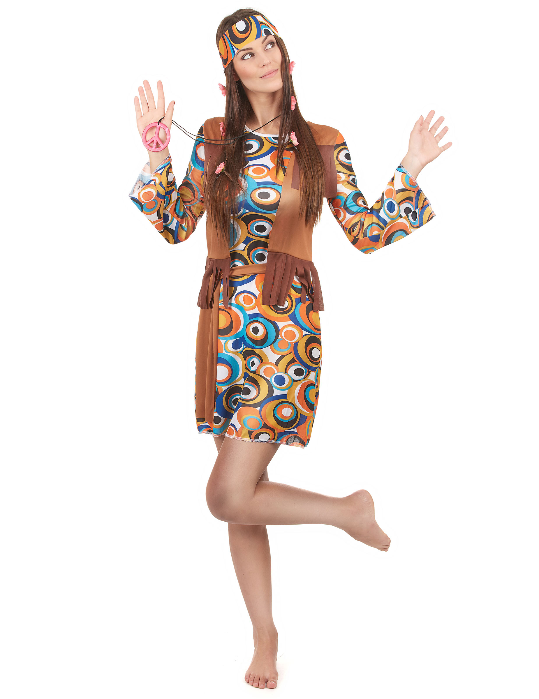 hippie damenkost m 60er outfit mit kreisen bunt g nstige faschings kost me bei karneval megastore. Black Bedroom Furniture Sets. Home Design Ideas
