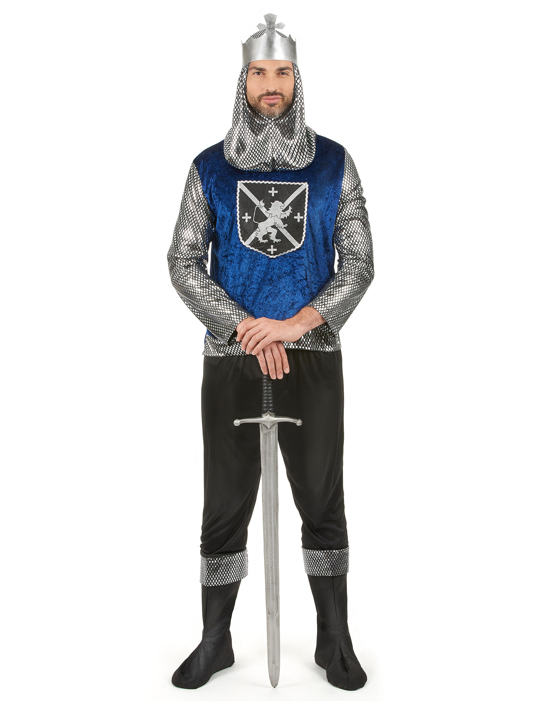Tapferer Ritter Mittelalter Herrenkostüm Silber Blau Schwarz