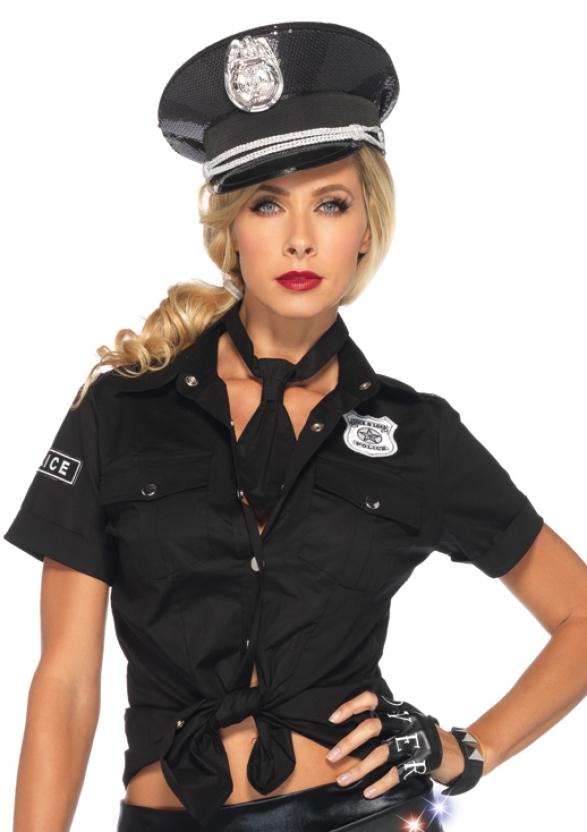 Heisse Polizistin Kostum Set Bluse Und Krawatte Schwarz Silber