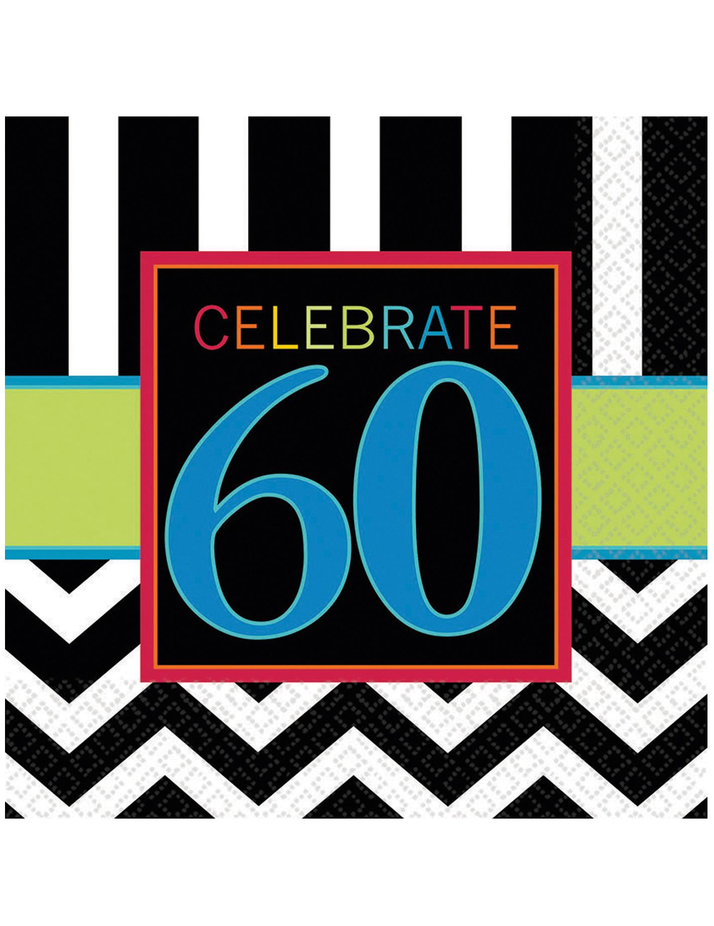 60 geburtstag servietten party deko 16 st ck bunt 33cm g nstige faschings bei karneval megastore. Black Bedroom Furniture Sets. Home Design Ideas