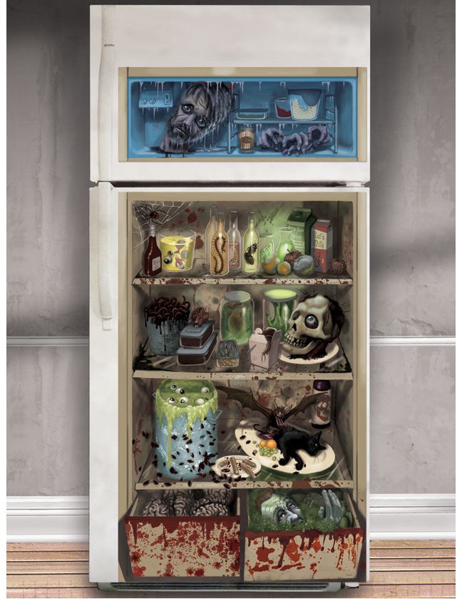 horror k hlschrank folie halloween party deko bunt 85x165cm g nstige faschings partydeko. Black Bedroom Furniture Sets. Home Design Ideas