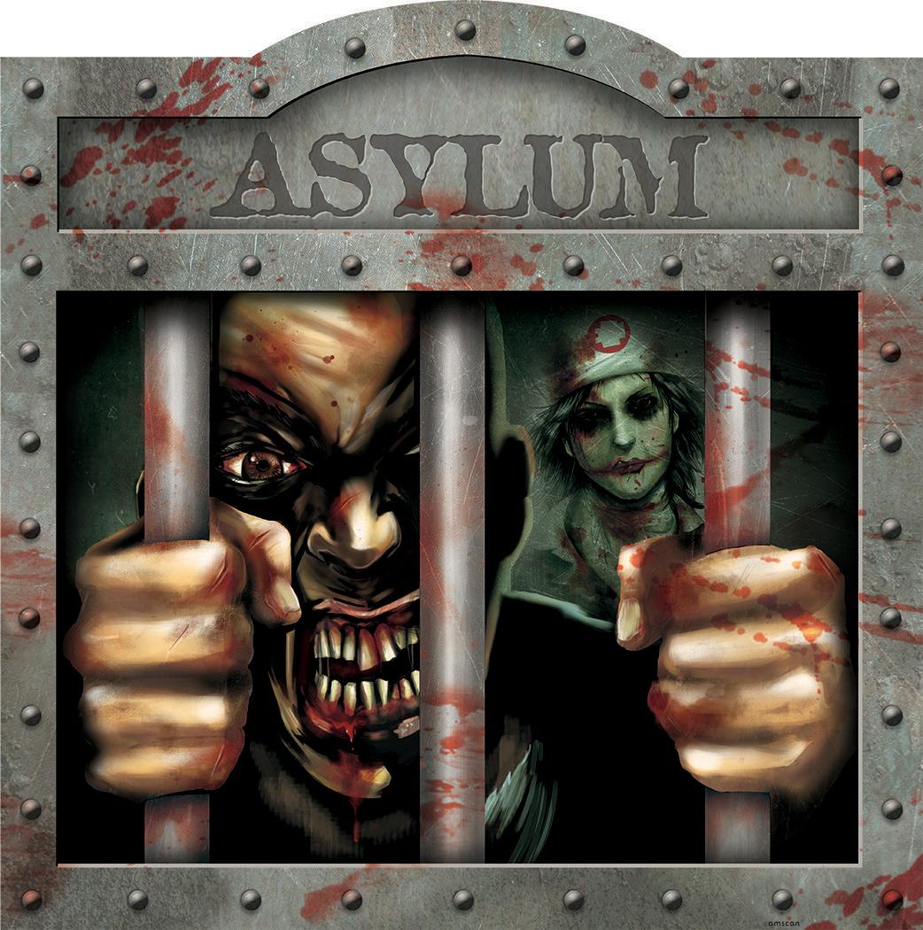 Horror-Gefängnis Schild Halloween Party-Deko Bunt 38cm
