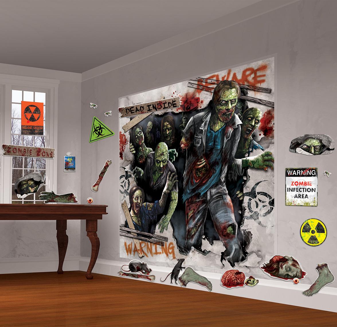 schaurige zombies halloween mega deko set 32 teilig bunt. Black Bedroom Furniture Sets. Home Design Ideas