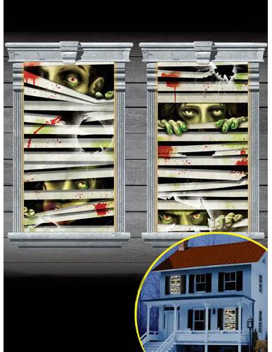 Zombie Gesichter Halloween Fenster Deko Set 2 Teilig Bunt 165x85cm