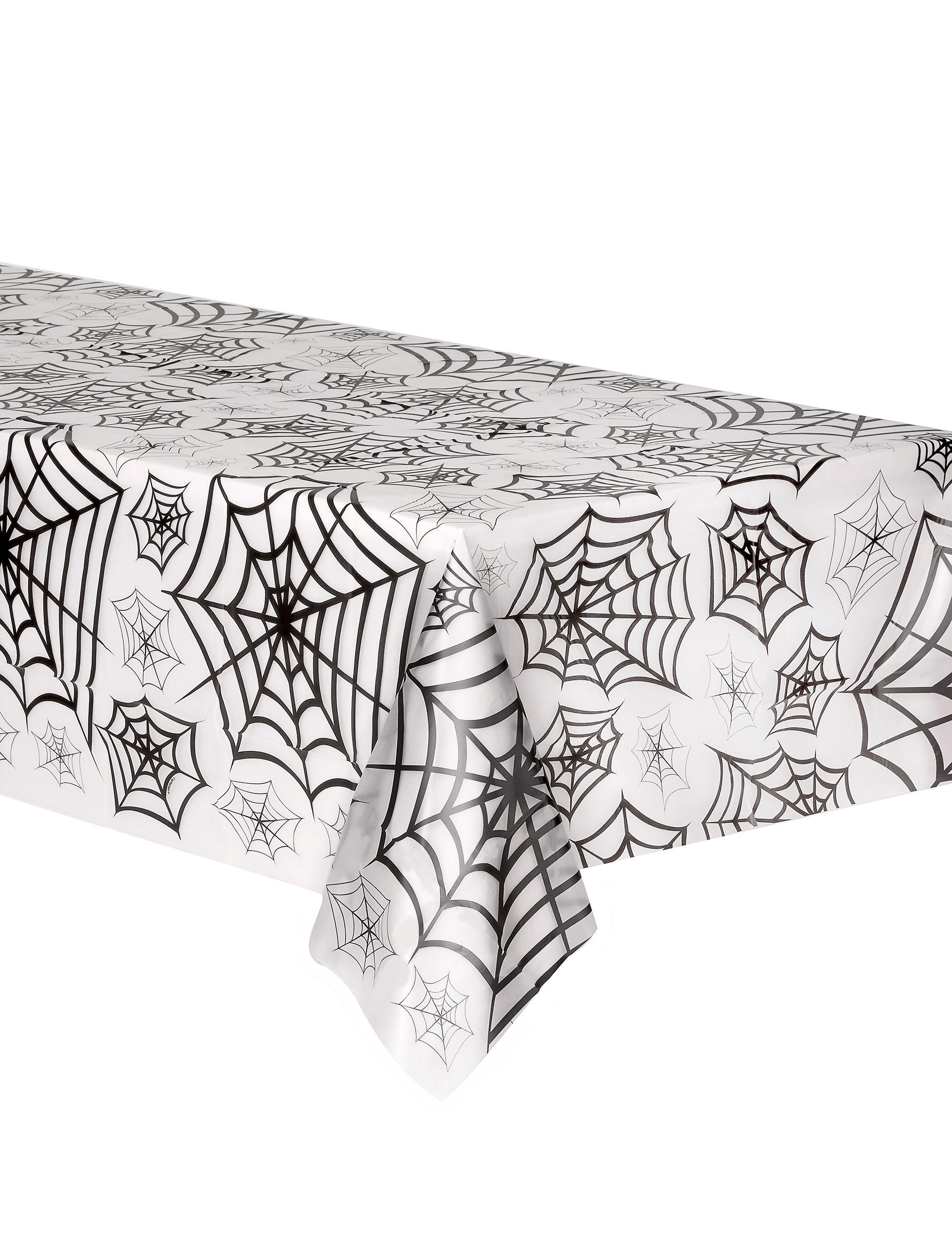 spinnweben halloween tischdecke weiss schwarz 135x275cm g nstige faschings partydeko zubeh r. Black Bedroom Furniture Sets. Home Design Ideas
