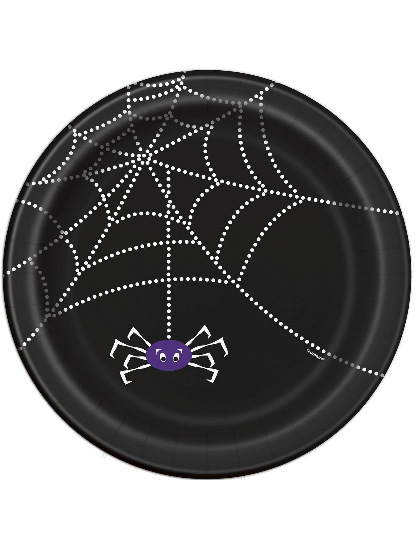 spinnen teller halloween pappteller set 8 st ck schwarz weiss 23cm g nstige faschings. Black Bedroom Furniture Sets. Home Design Ideas