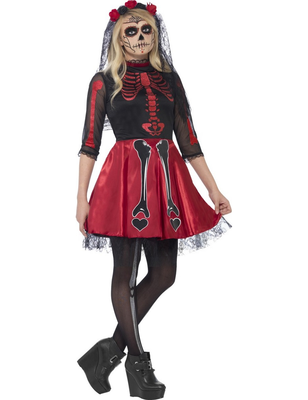 tag der toten skelett m dchen halloween teen kost m rot schwarz g nstige faschings kost me bei. Black Bedroom Furniture Sets. Home Design Ideas