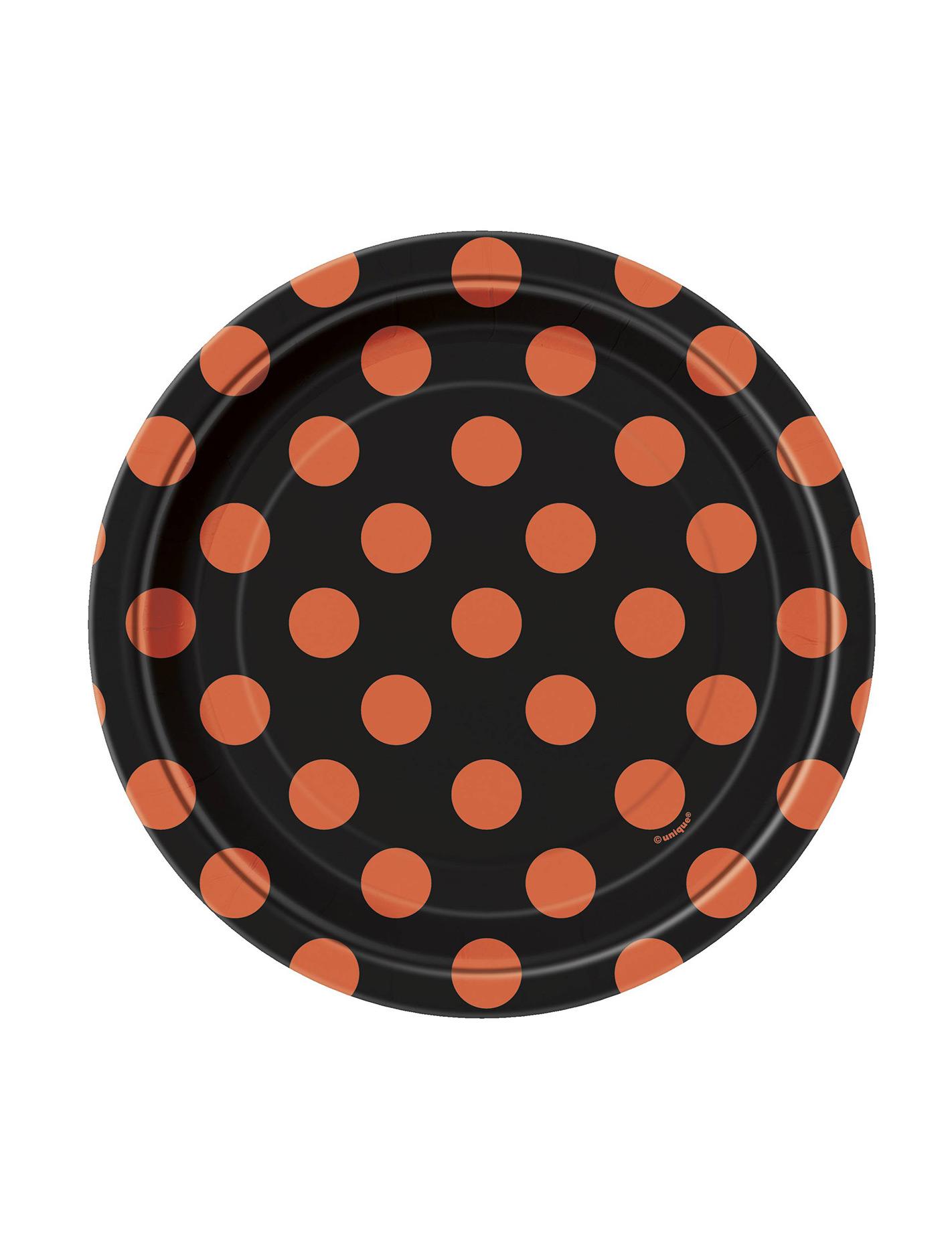 gepunktete teller halloween pappteller set 8 st ck schwarz orange 17cm g nstige faschings. Black Bedroom Furniture Sets. Home Design Ideas