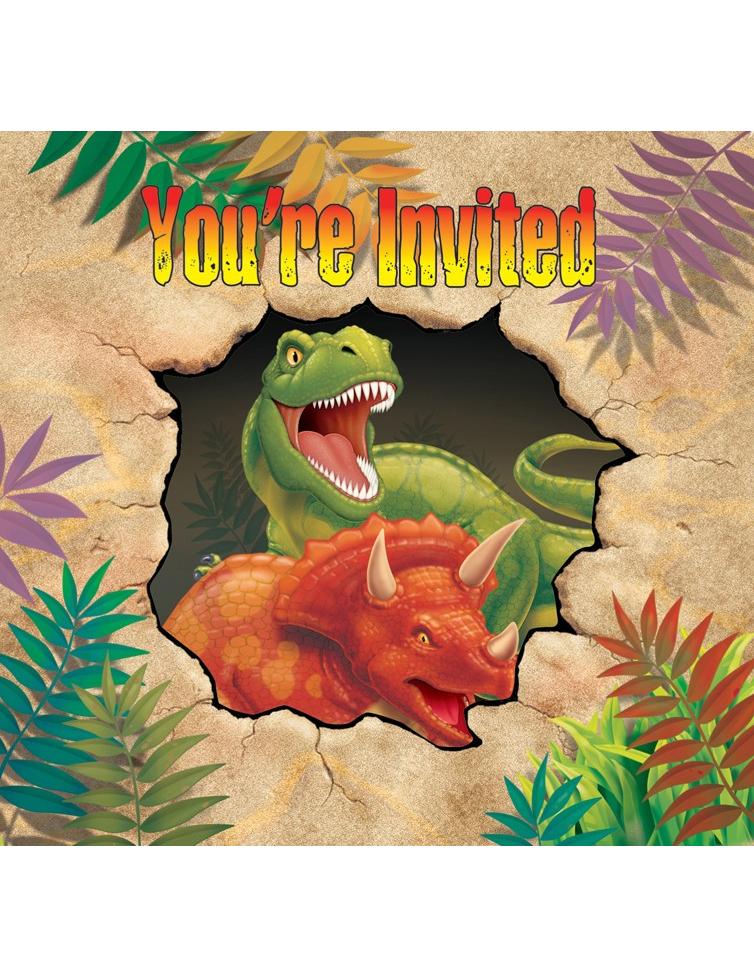 Günstige Einladungskarten Geburtstag: Set Einladungskarten Dinosaurier , Günstige Faschings