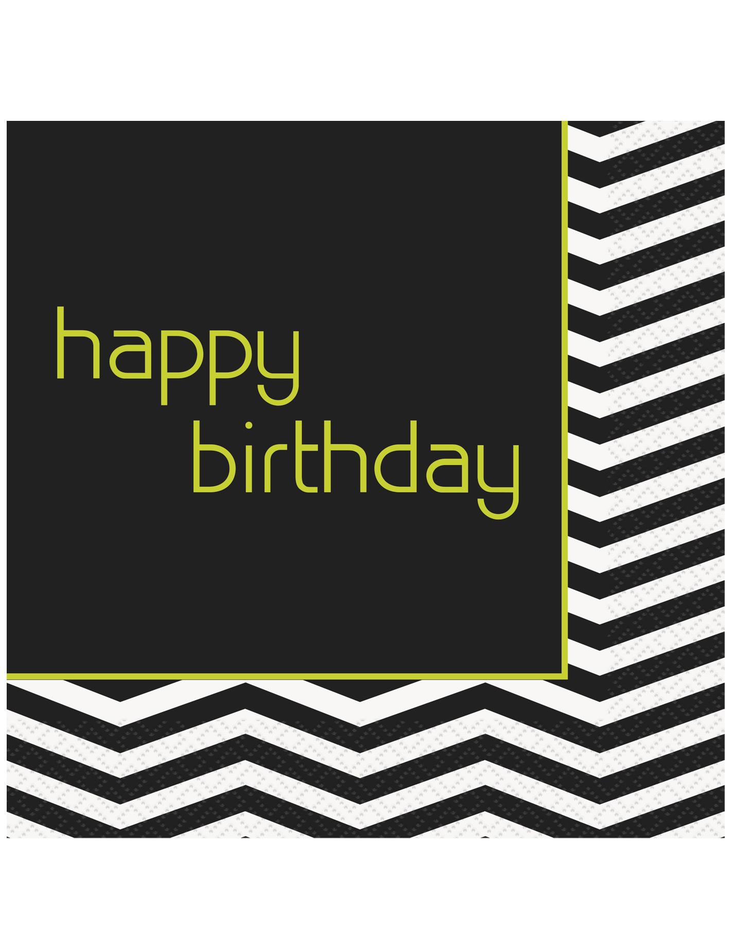 papierservietten mit schriftzug happy birthday schwarz. Black Bedroom Furniture Sets. Home Design Ideas