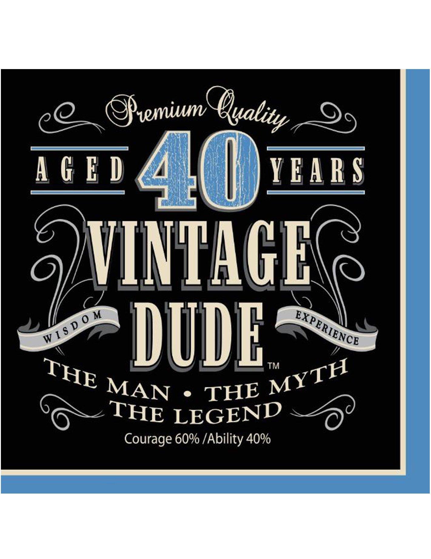 40 Geburtstag Servietten 16 Stuck Blau Schwarz Beige 16 5 X 16 5cm
