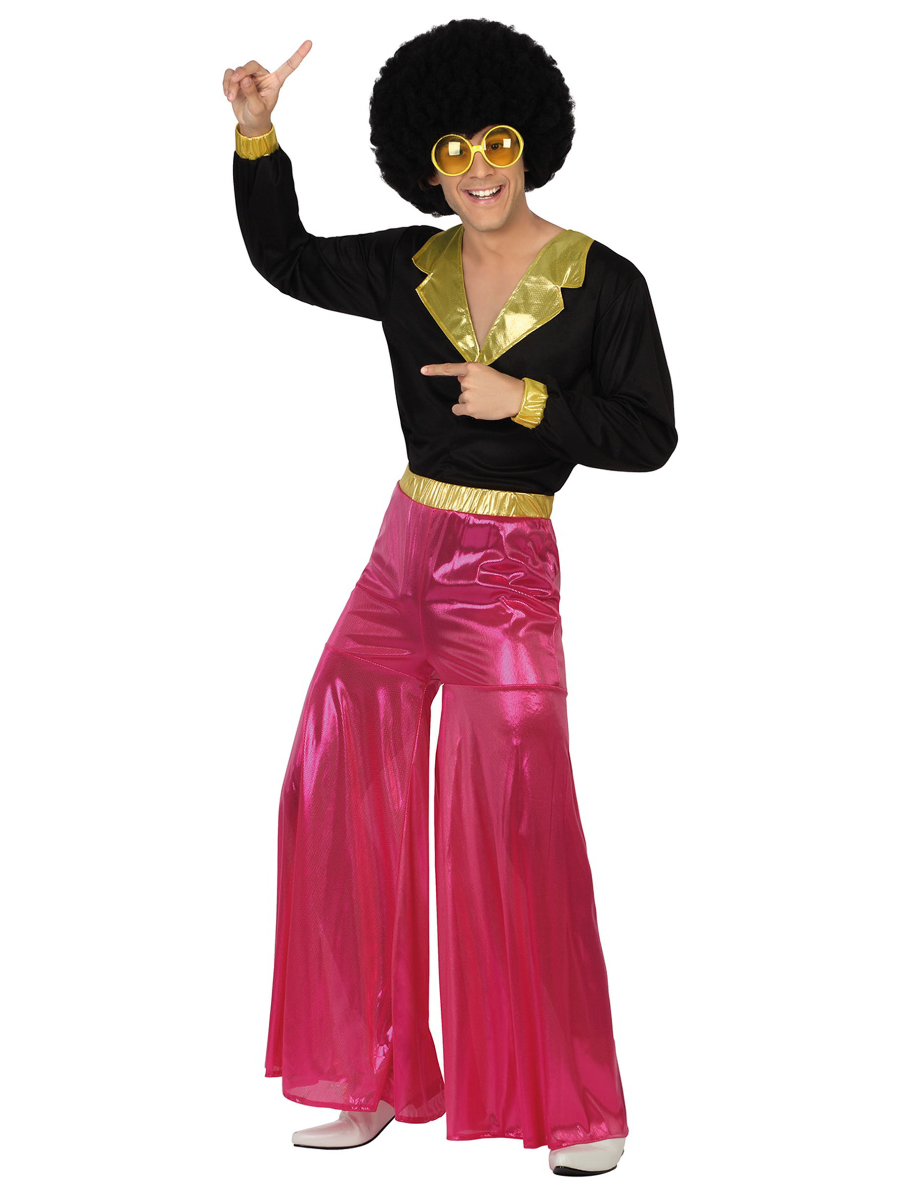 gl nzendes disco outfit 70er kost m pink schwarz gold. Black Bedroom Furniture Sets. Home Design Ideas