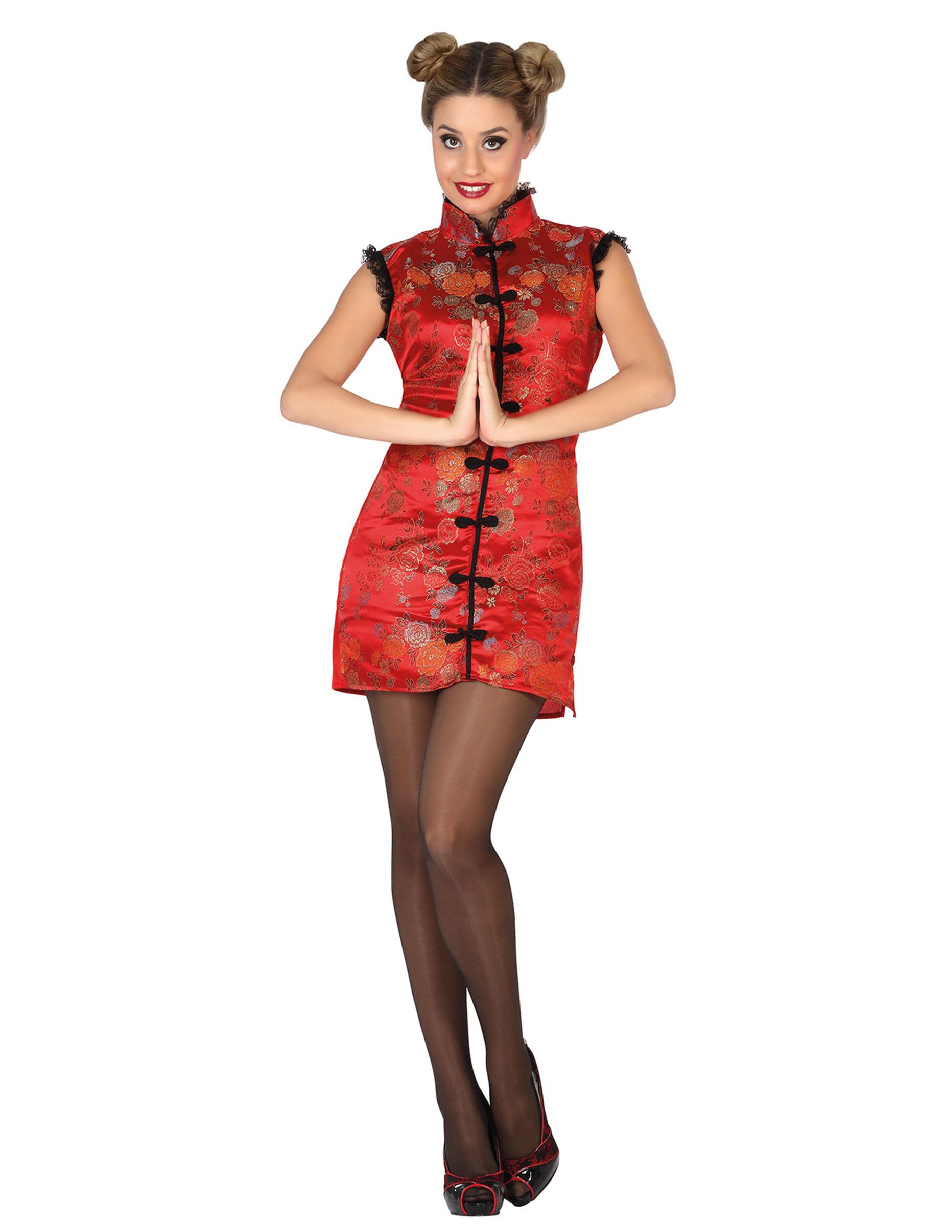 elegante chinesin damenkost m asiatin rot g nstige faschings kost me bei karneval megastore. Black Bedroom Furniture Sets. Home Design Ideas